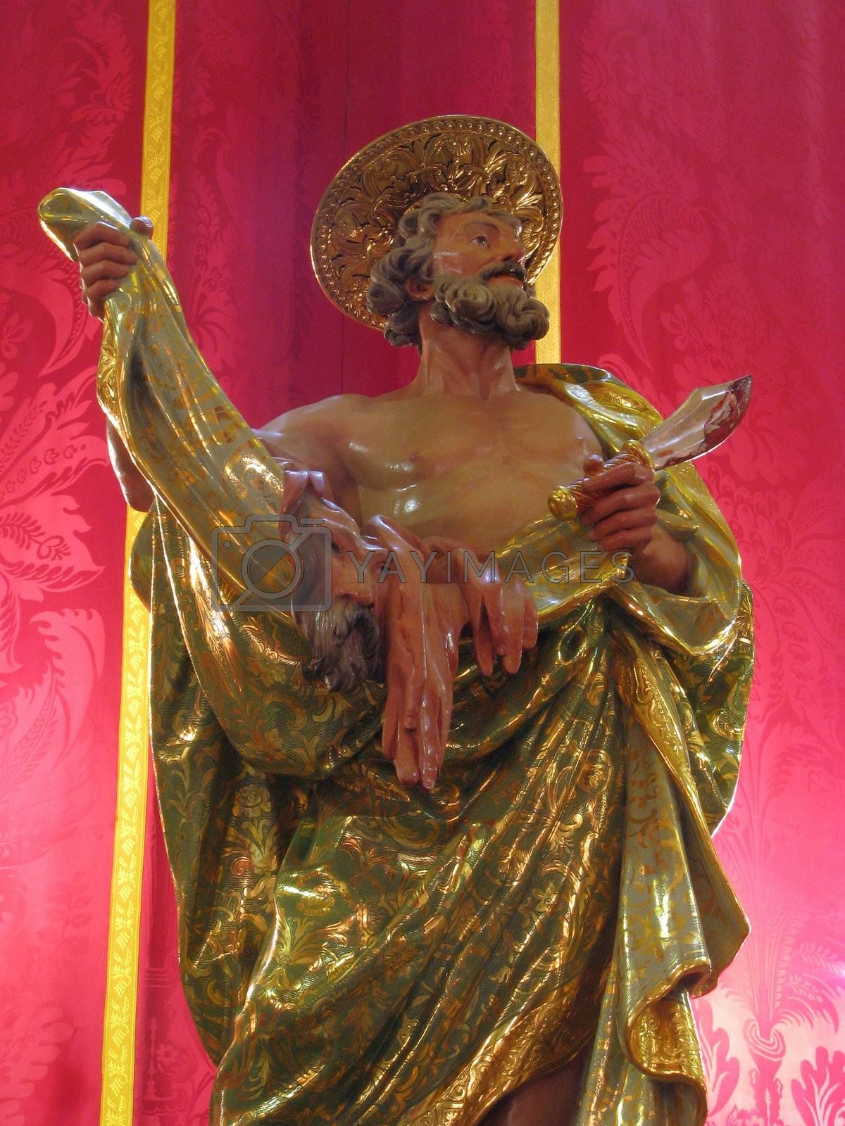 A detail of the statue of Saint Bartholomew in Gharghur, Malta.