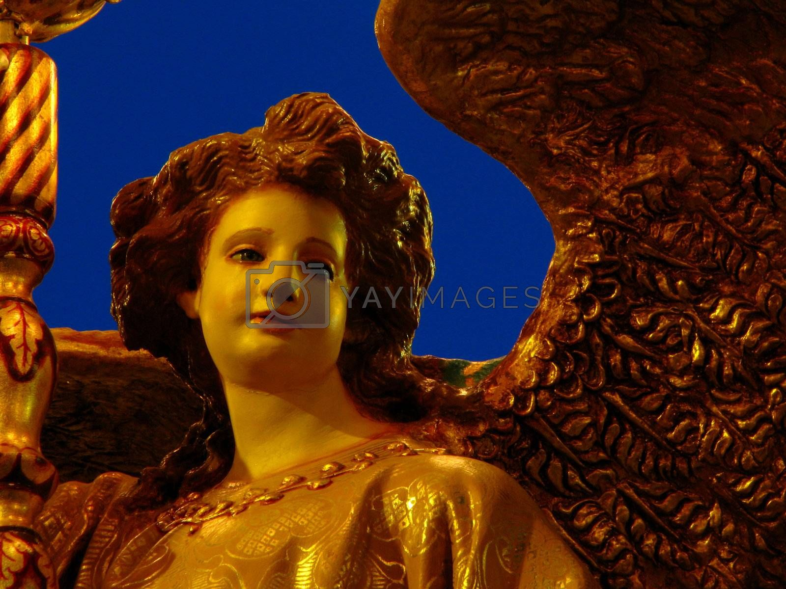 A detail of a papier mache angel on display for the occasion of the feast of Saint George in Qormi, Malta.