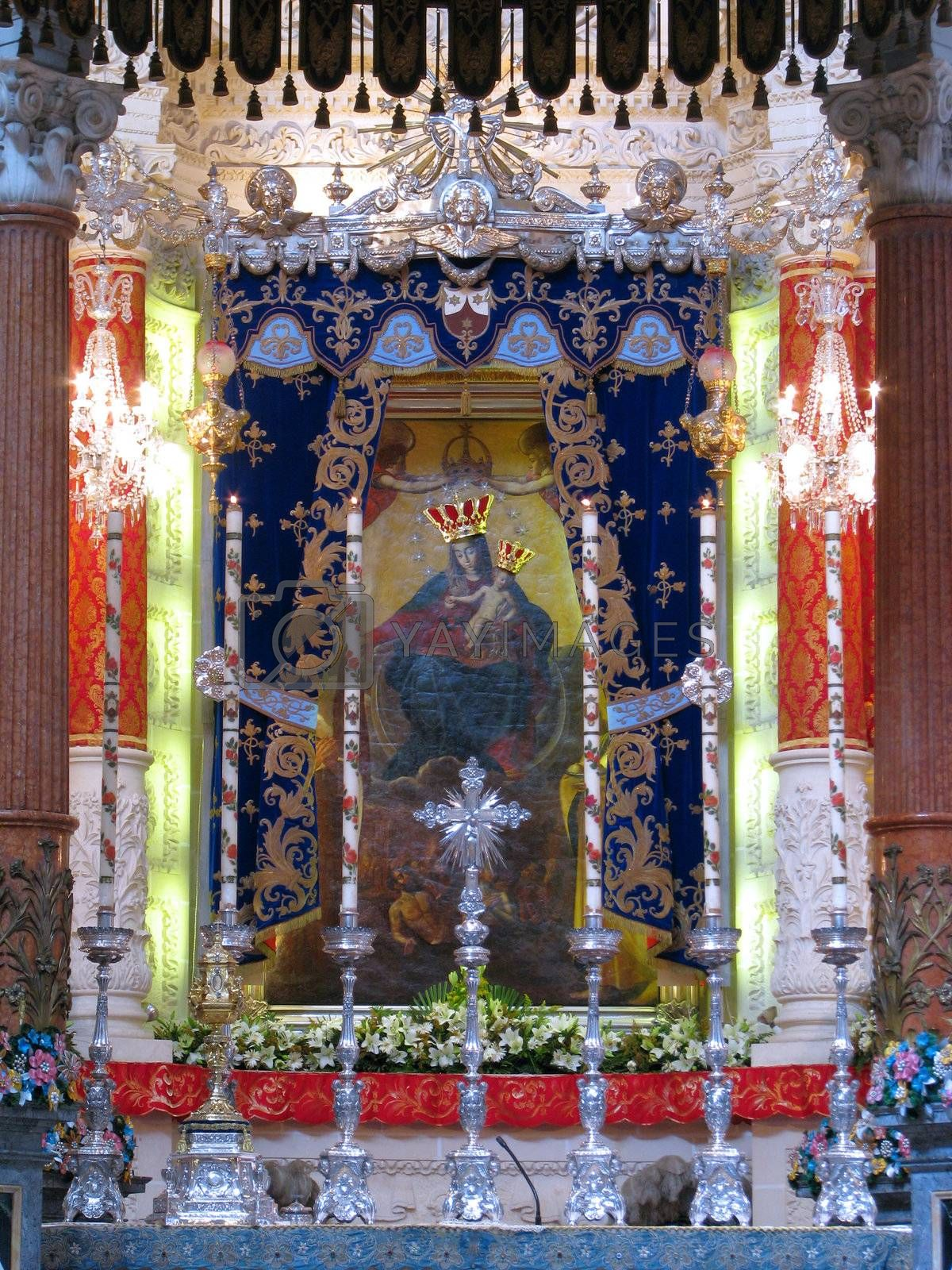 A painting of Our Lady of Mount Carmel in Valletta, Malta.