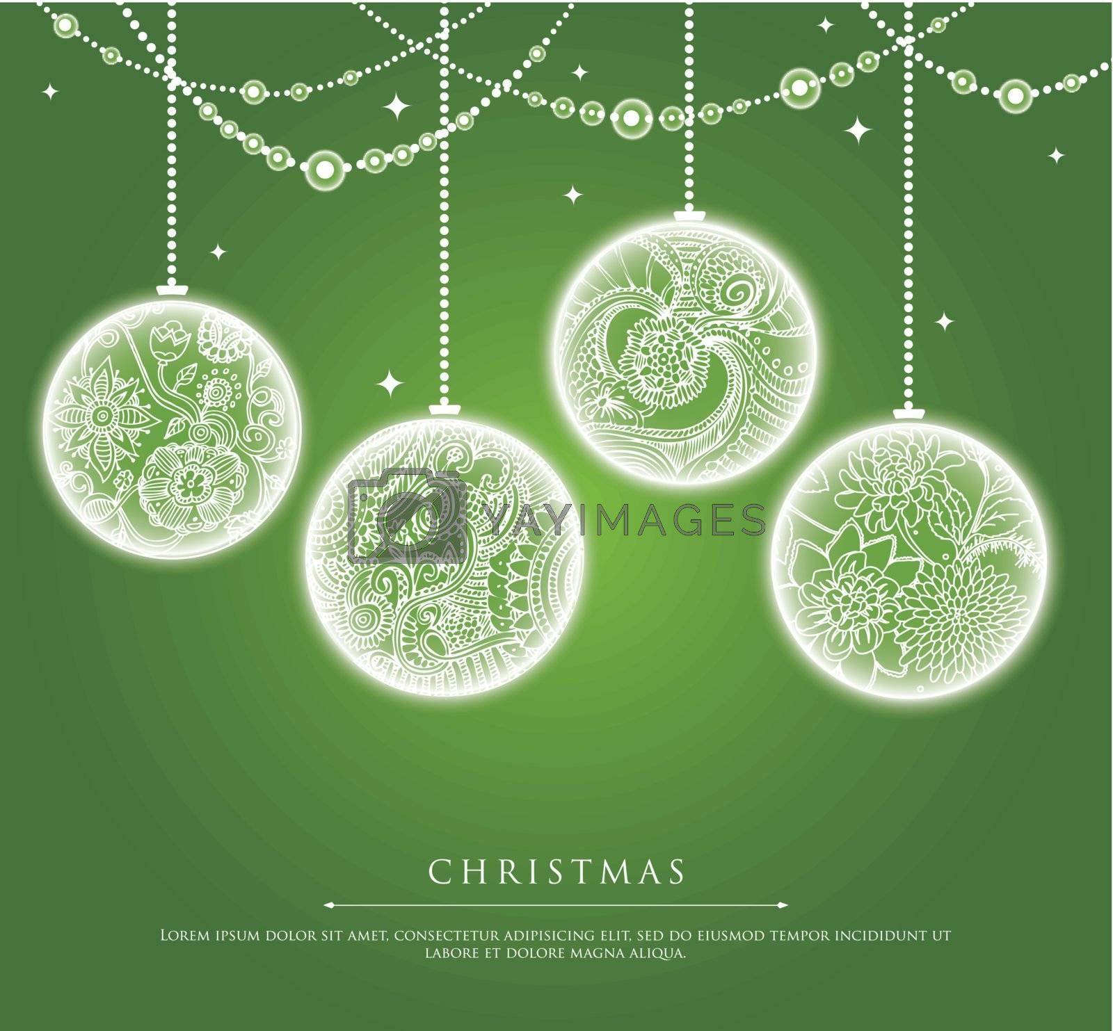 Vector illustration of Christmas balls with doodle texture