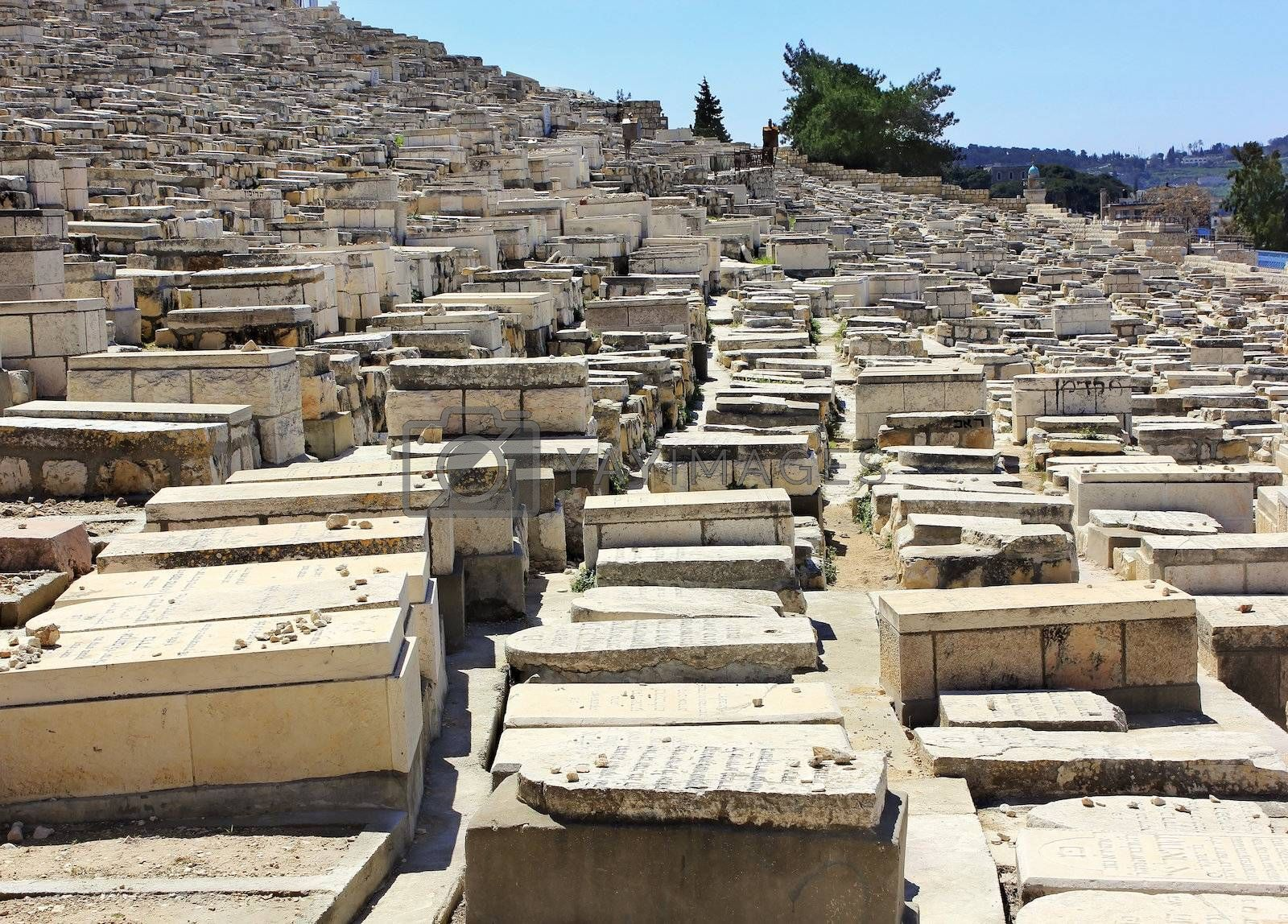 ancient Jewish cemetery on the Mount of Olives in Jerusalem, Israel