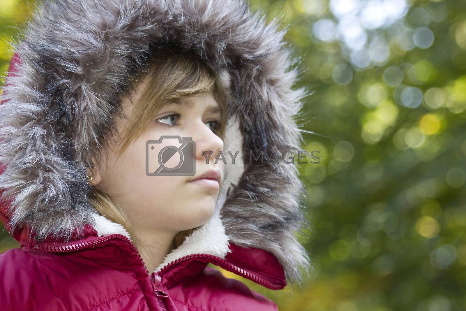 Portrait of a  young girl, warm autumn day