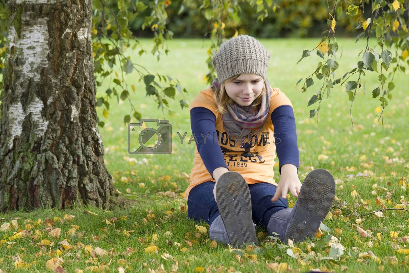 Cute girl playing in the park