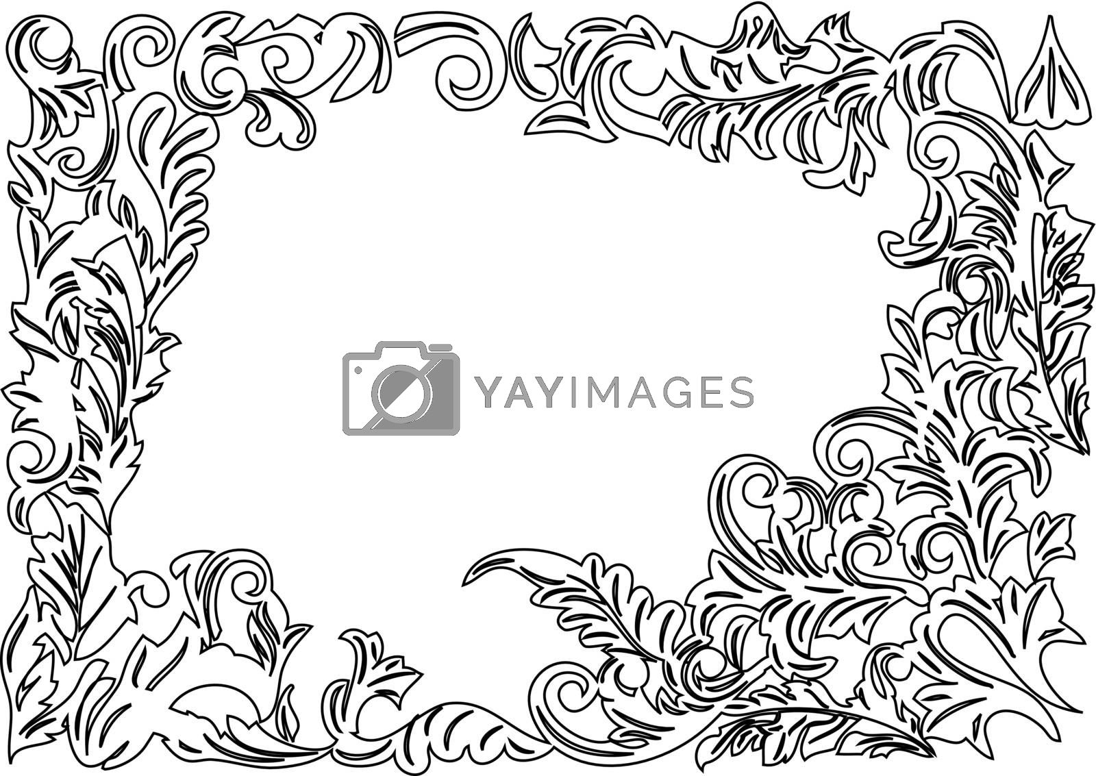 black decorative ornaments on the white background