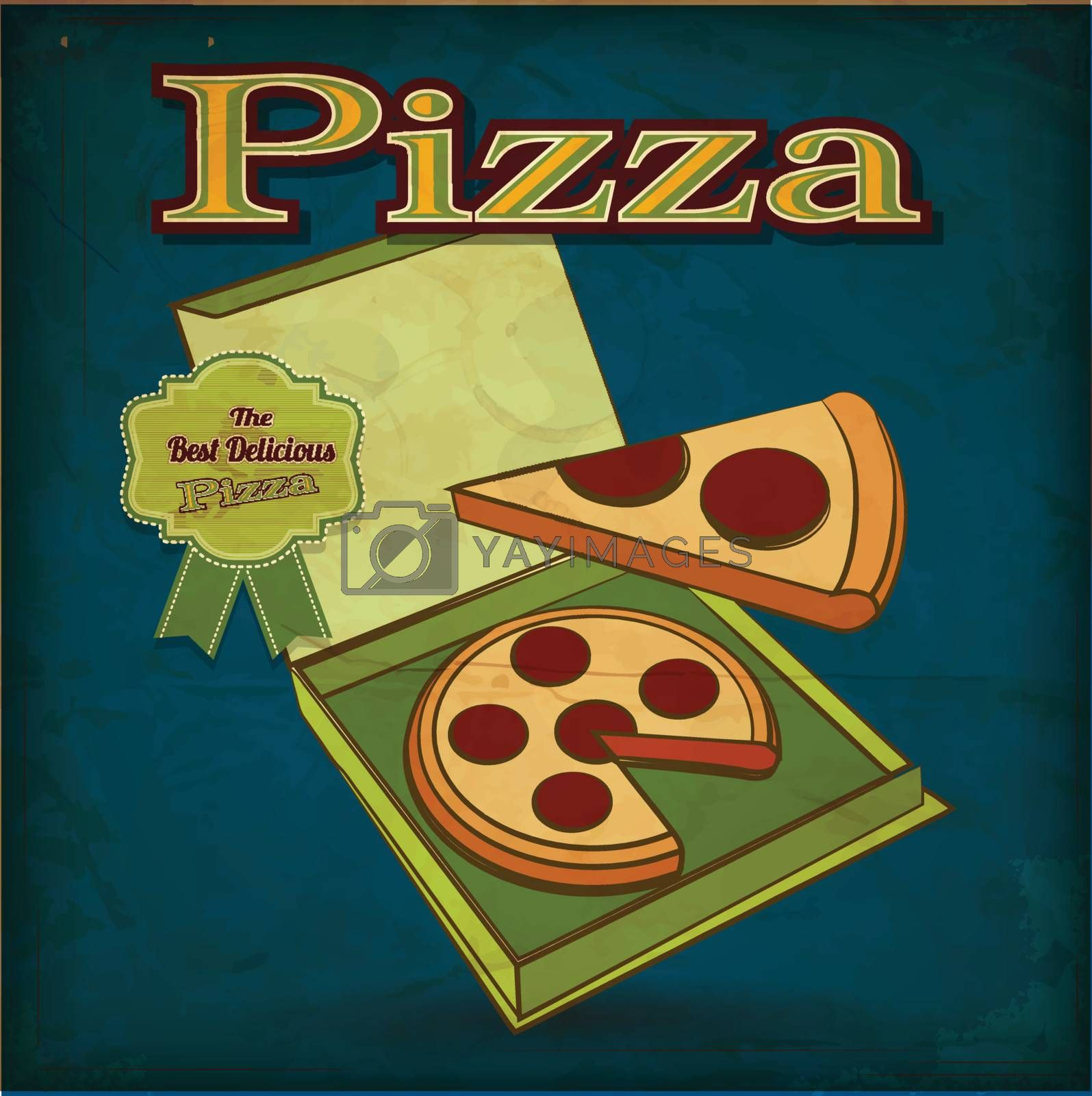 poster Retro Vintage Pizza with Grunge Effect