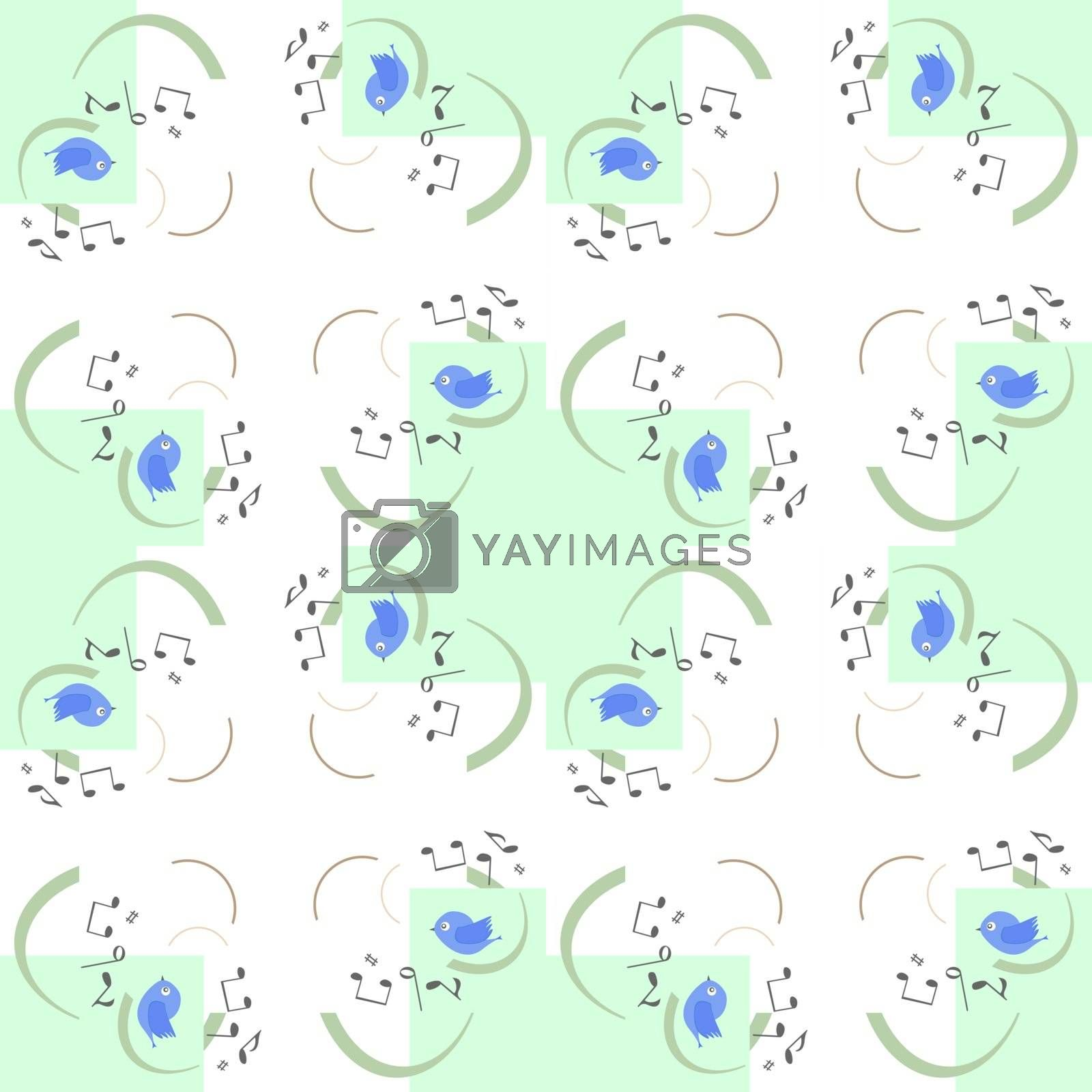vector seamless pattern with cute birds