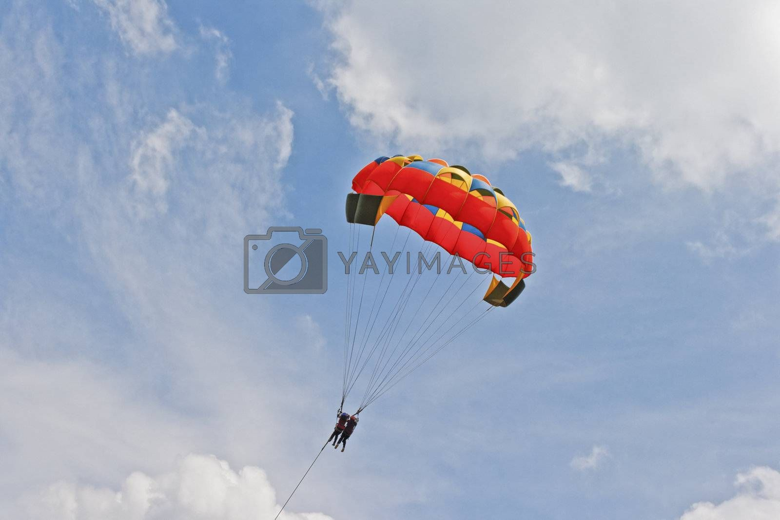 Lady paragliders drop from the clouds by arfabita