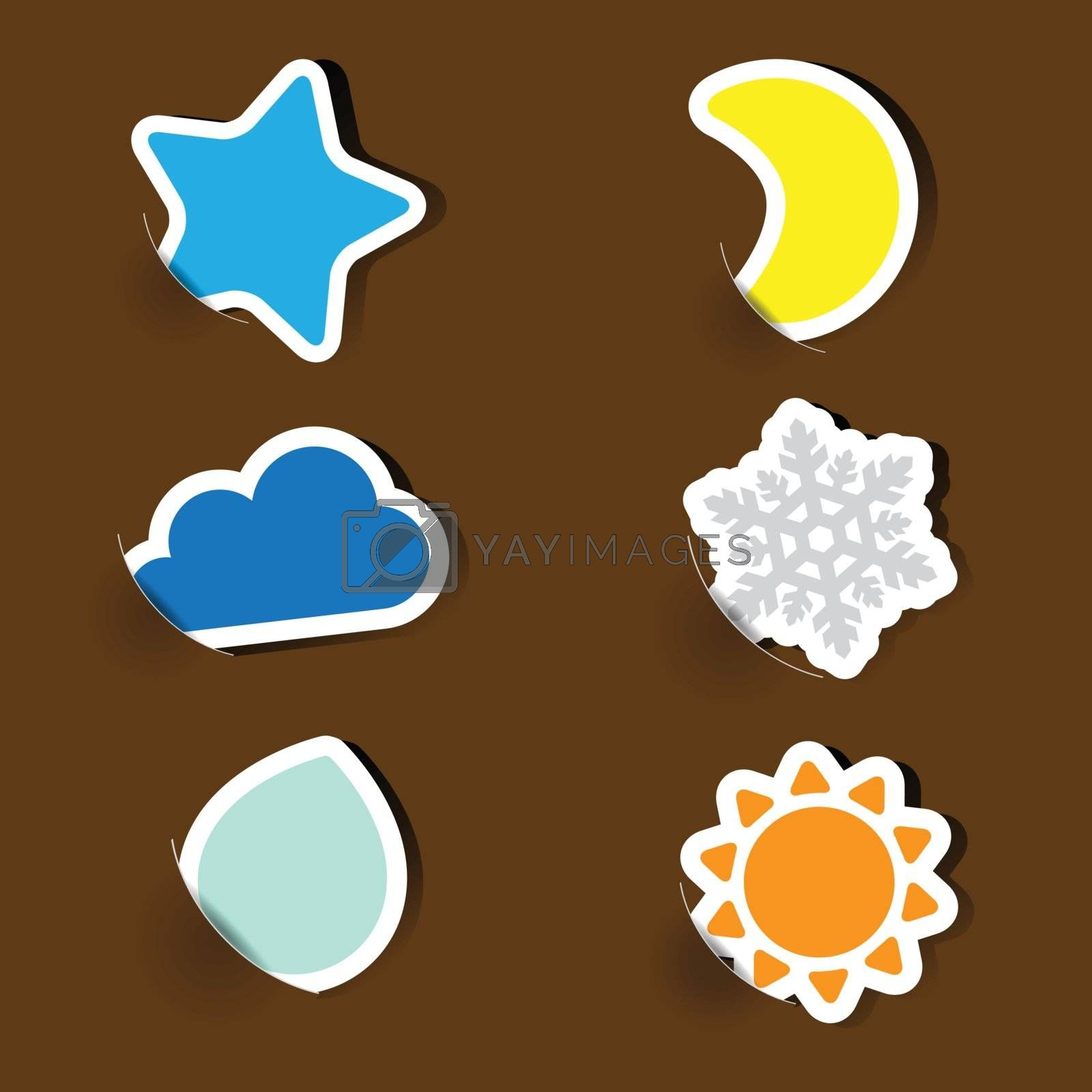 Colorful label paper weather icons