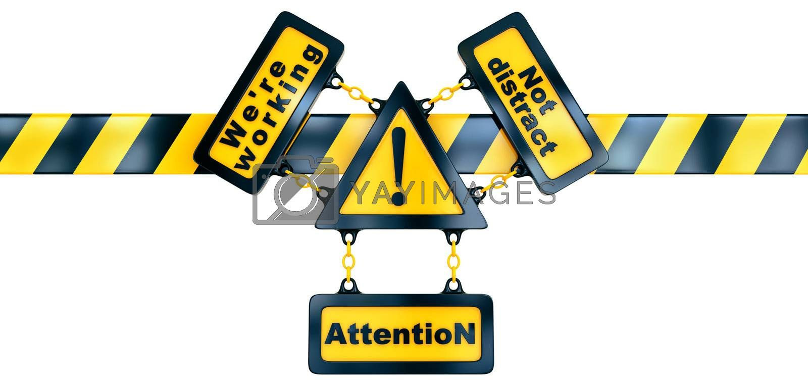 Shiny golden warning sign with exclamation mark and striped line