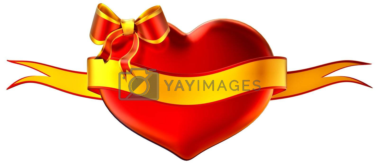 3D heart with bow and golden ribbon on a white background