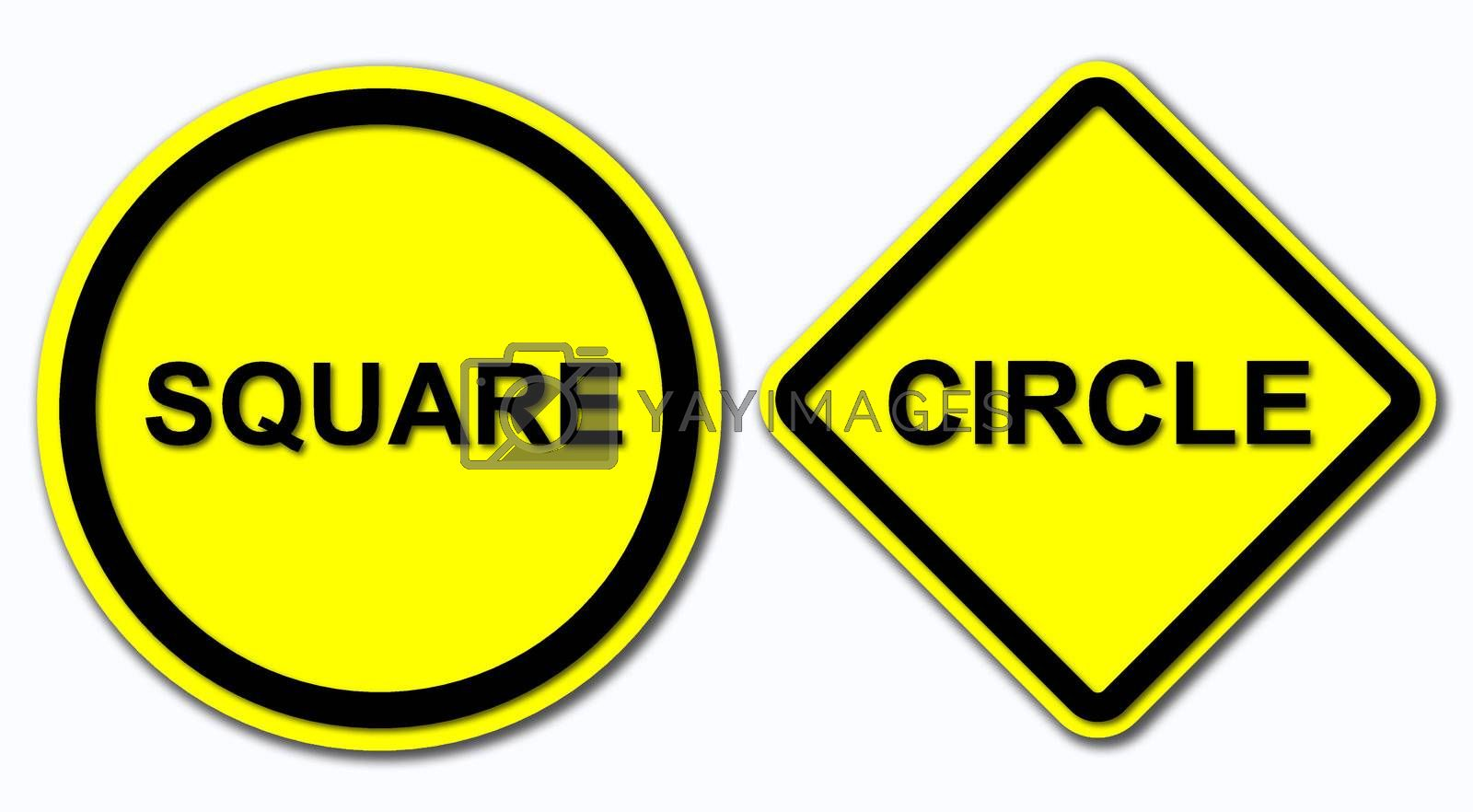 Sign of Suare and Circle on White Background