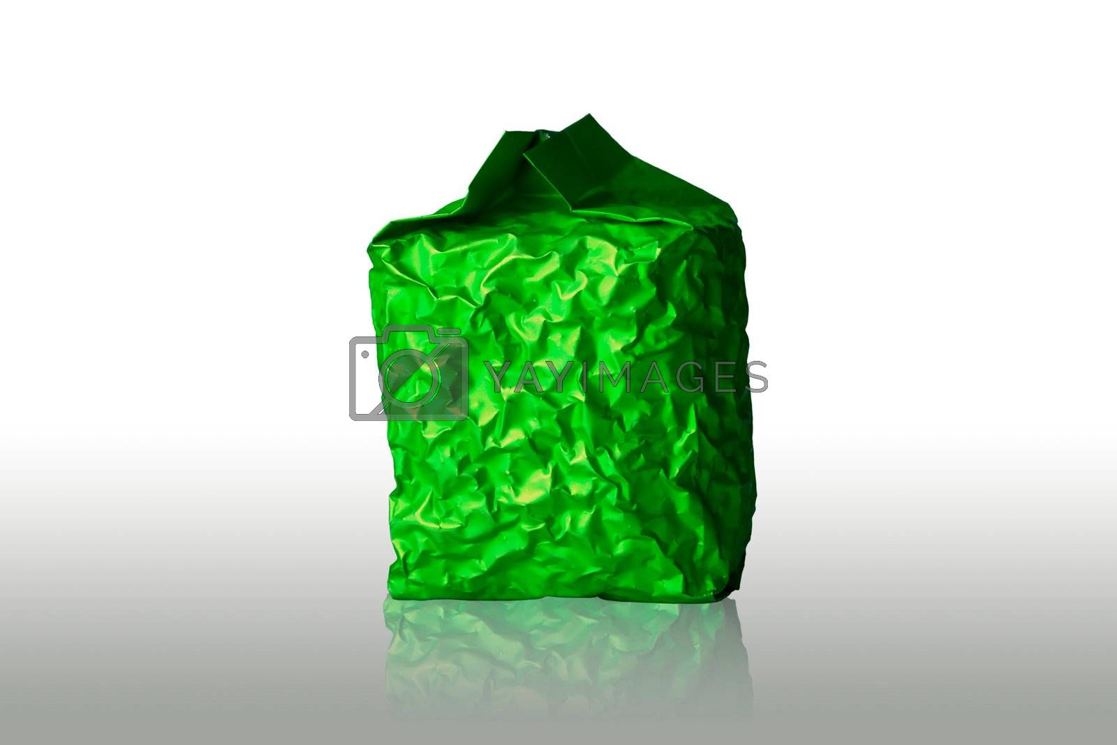 Green Foil Packaging on white background