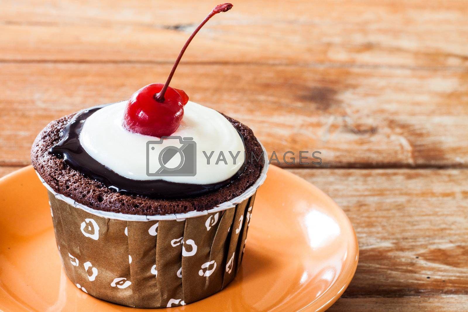 Chocolate  Cupcake decorated with red cherry