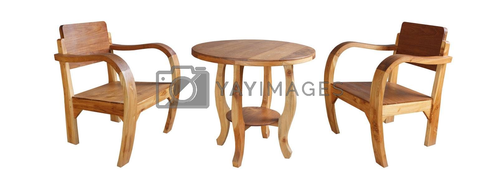 Set of wooden chairs and table on white background