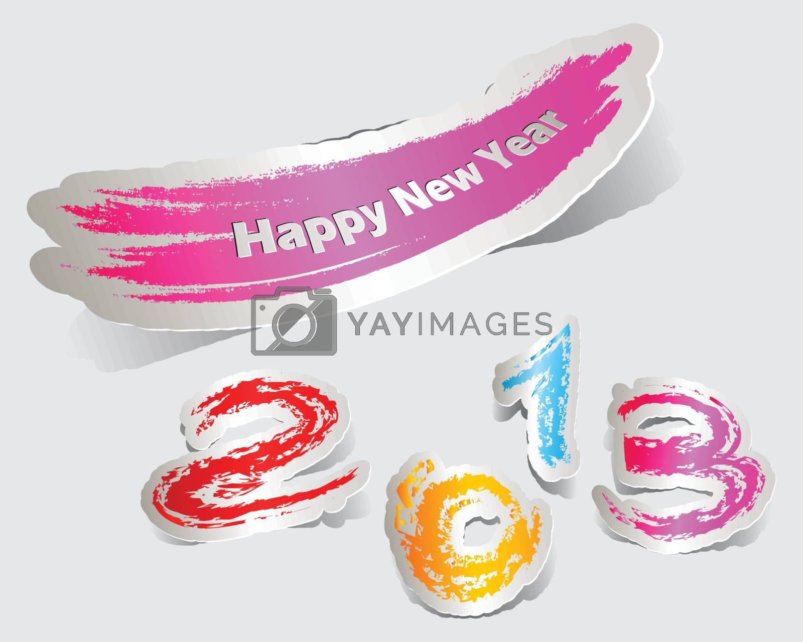 Colorful label paper brush stroke happy new year 2013