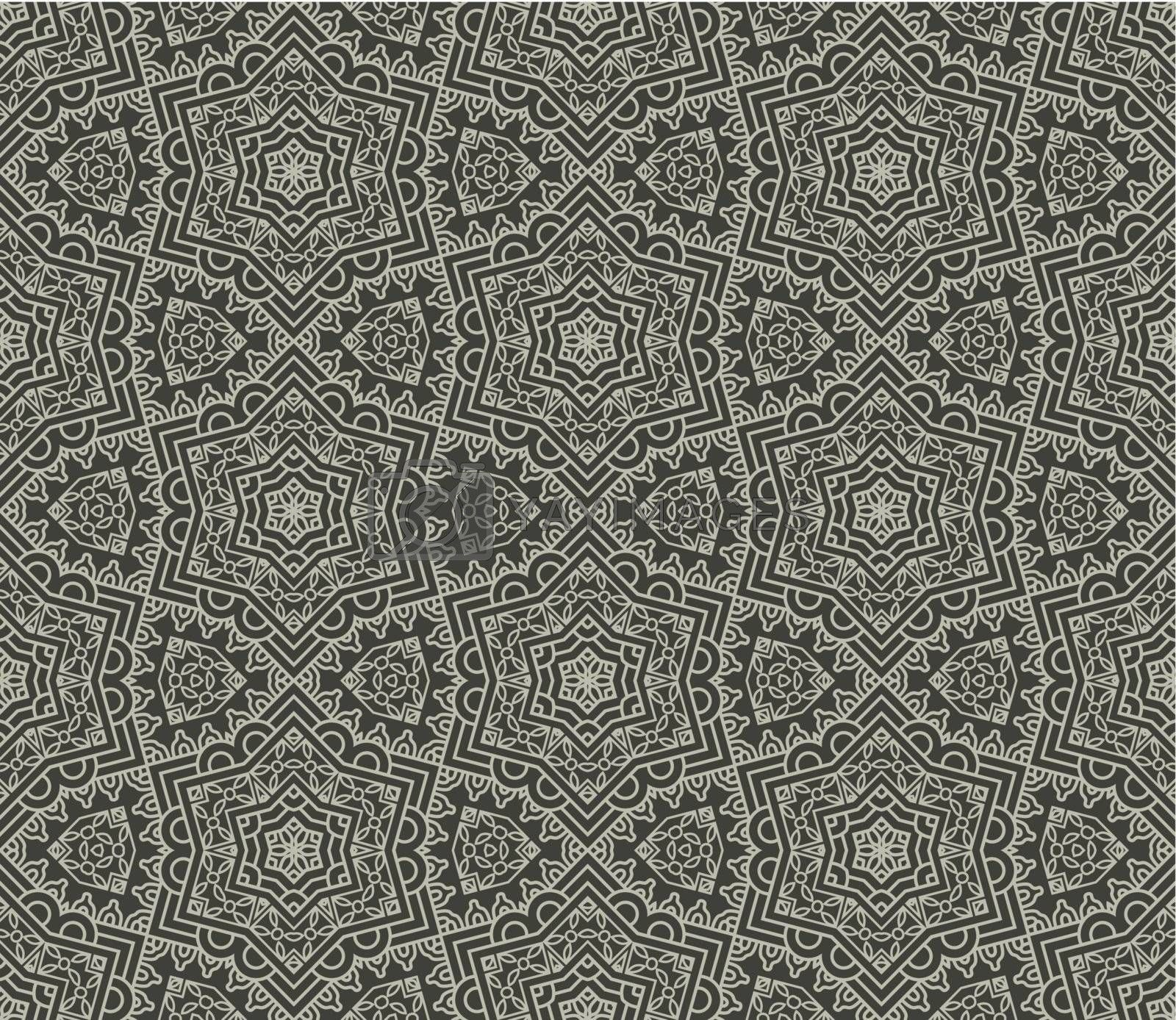 Seamless wallpaper with aztec ornament in gray colors