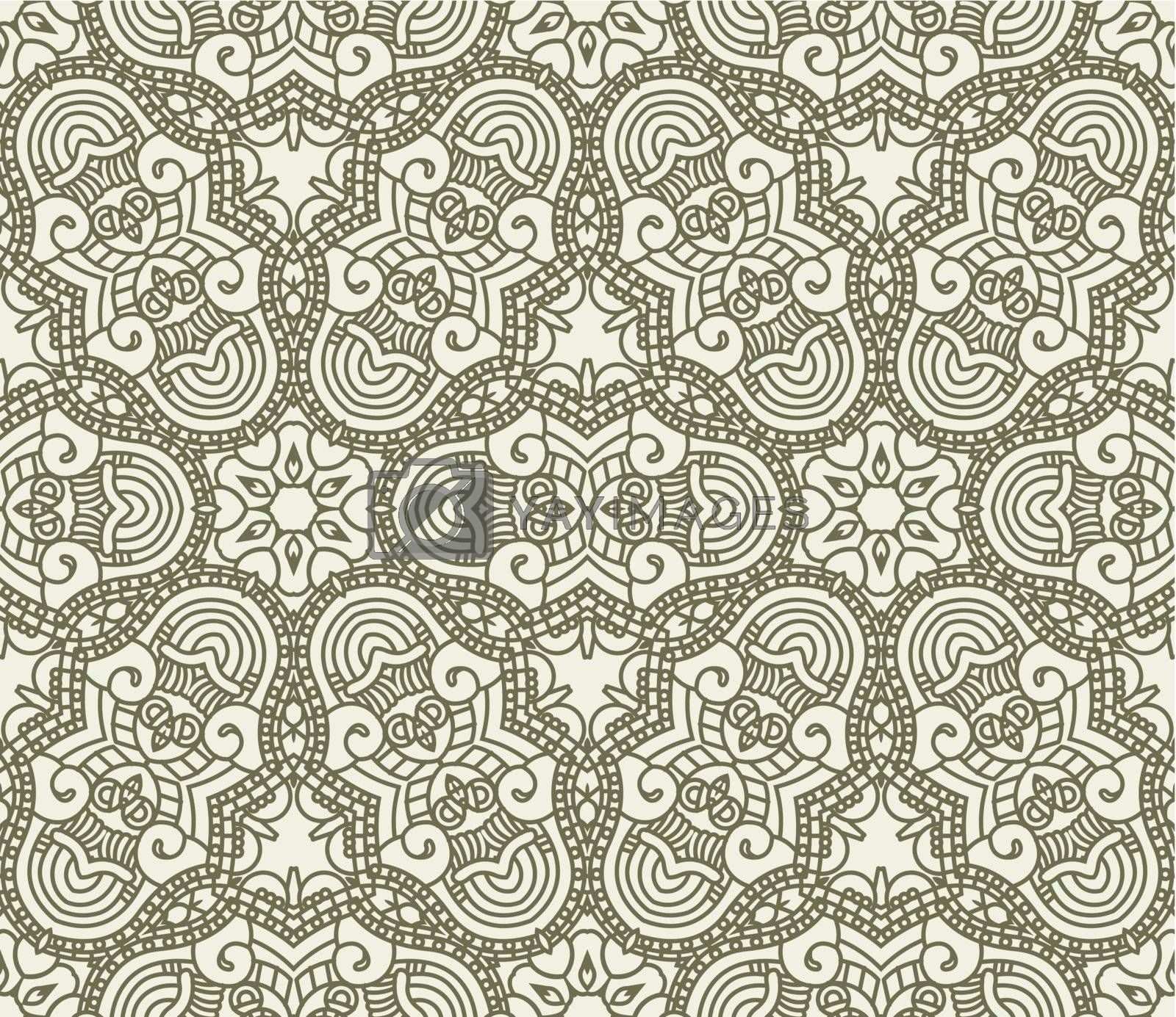 Seamless wallpaper with aztec ornament in green colors