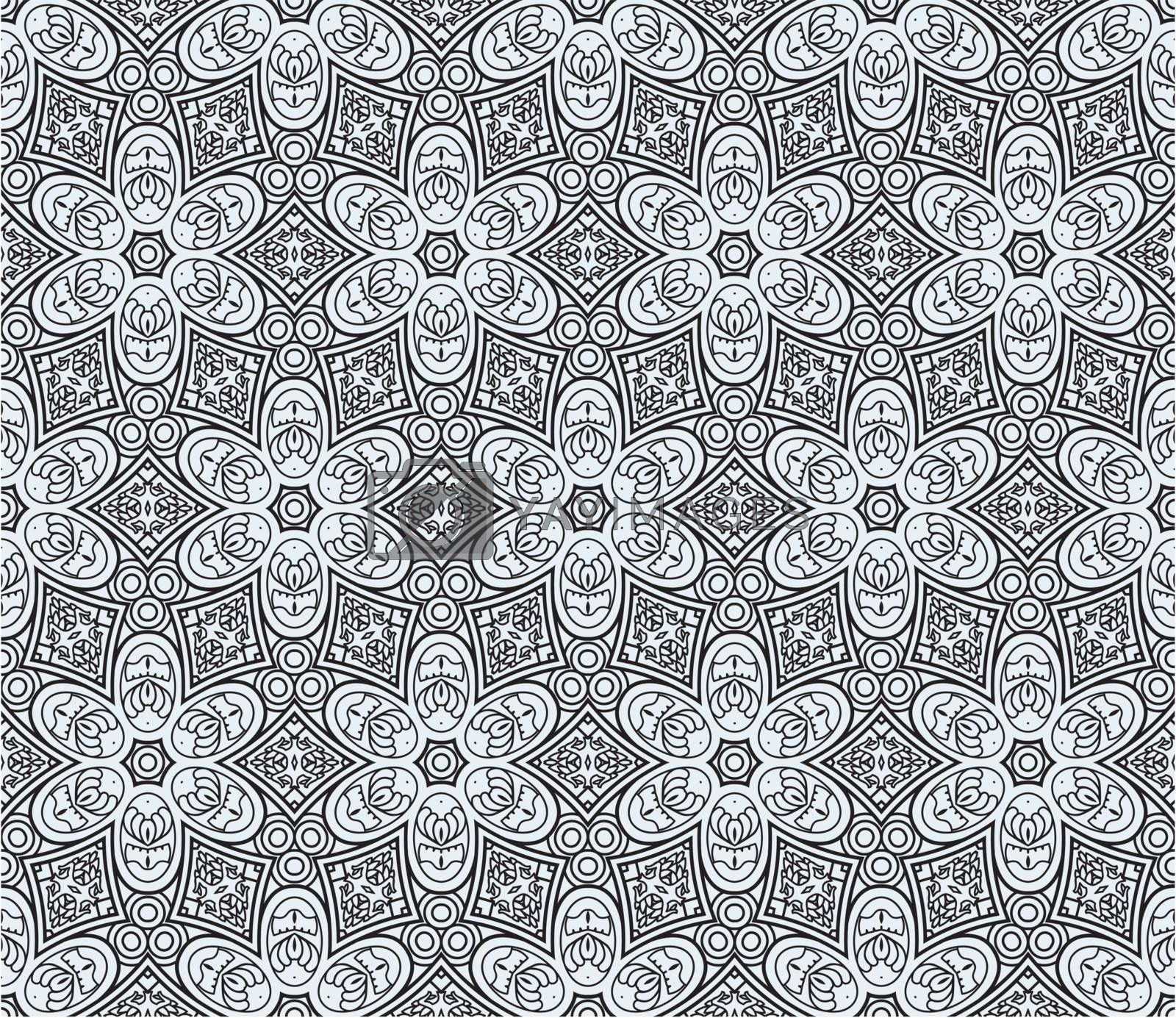Seamless wallpaper with black aztec ornament on a blue background