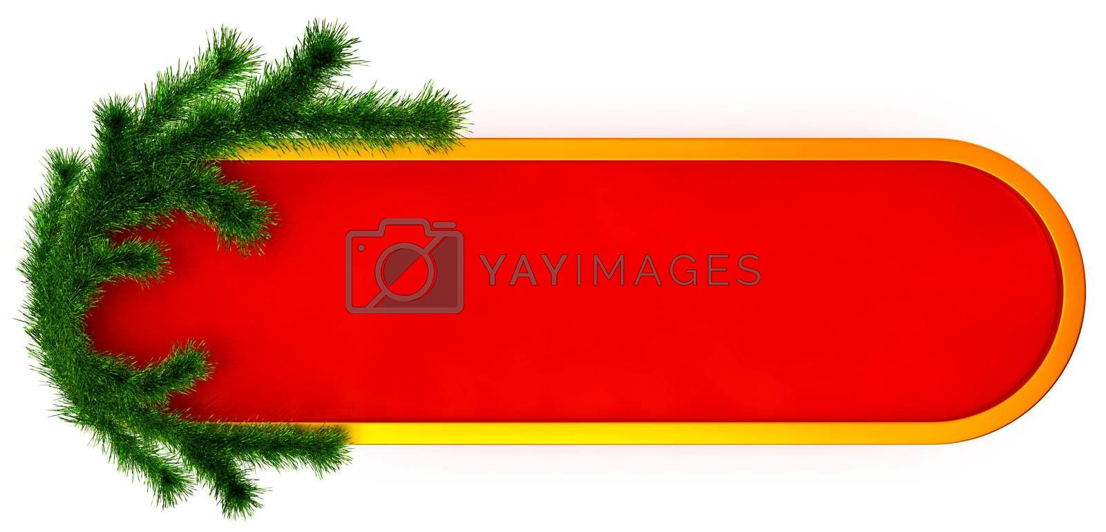 christmas frame with decorative plastic green fir branch