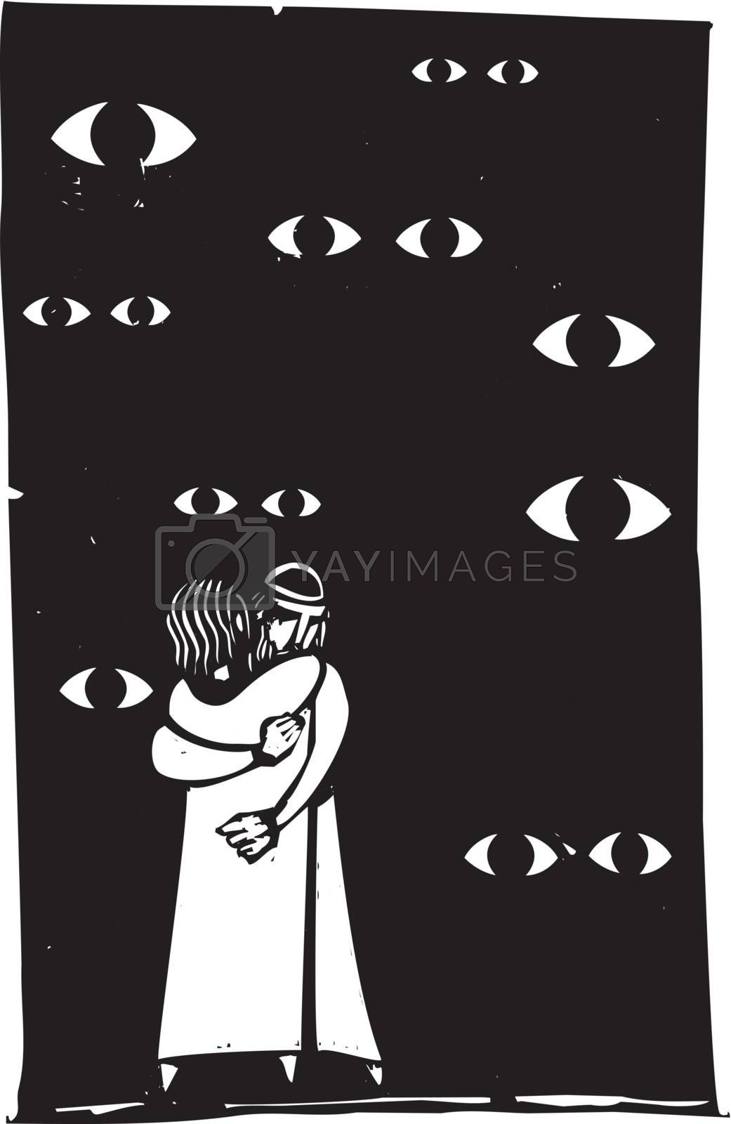 A middle eastern couple are watched embracing by many eyes.