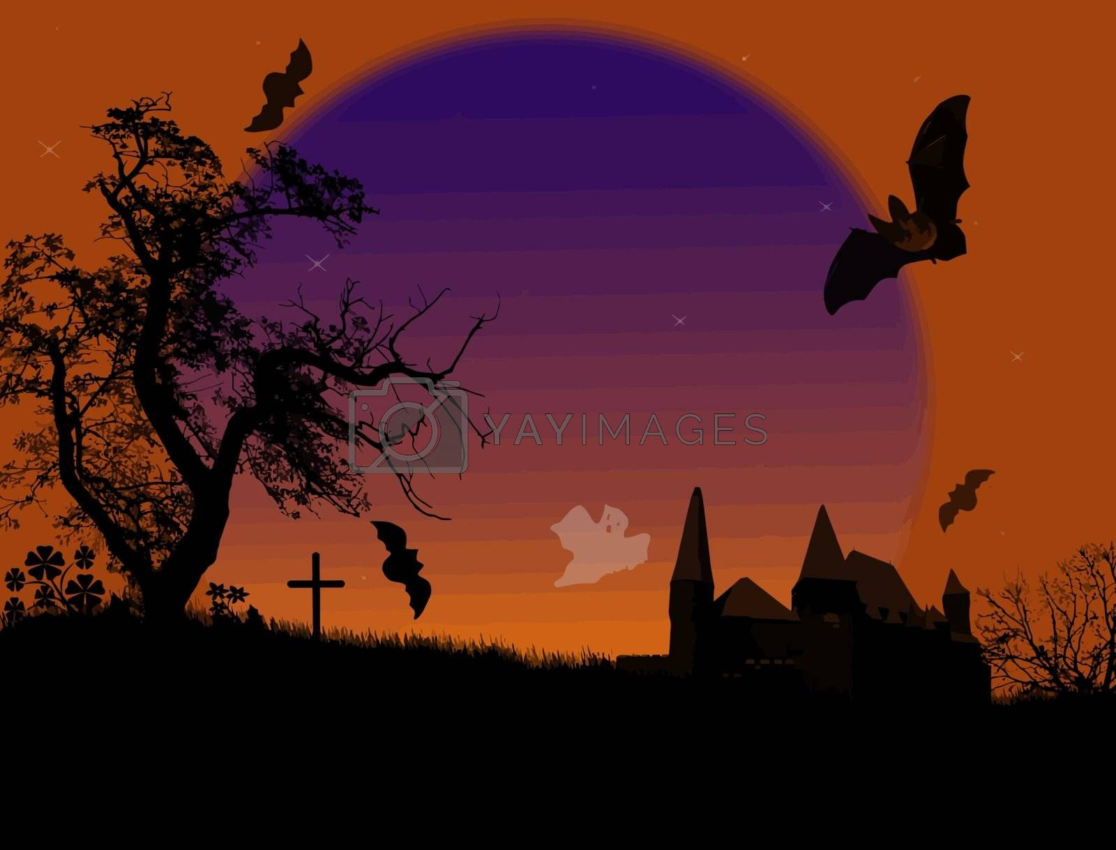 Scary halloween background with ghosts and bats on scarry place