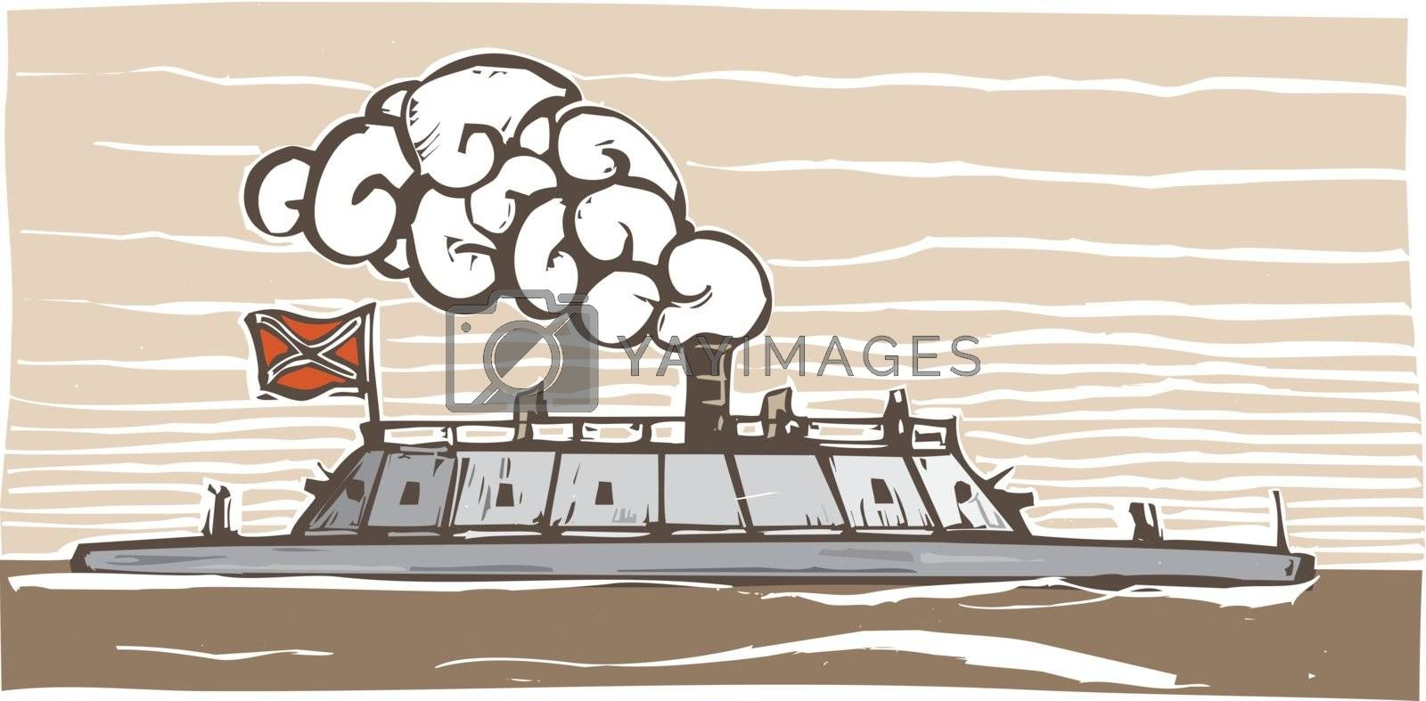 Woodcut style image of the Confederate Civil War Ironclad warship Virginia.