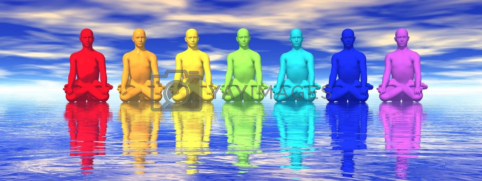 Seven human with chakra colors meditating in blue background