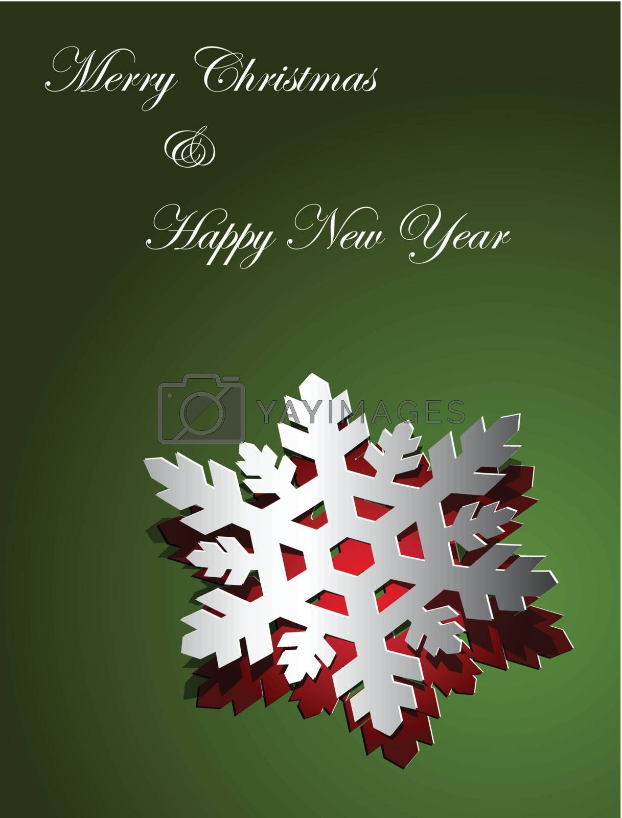 Christmas card design snowflake sticker paper cut