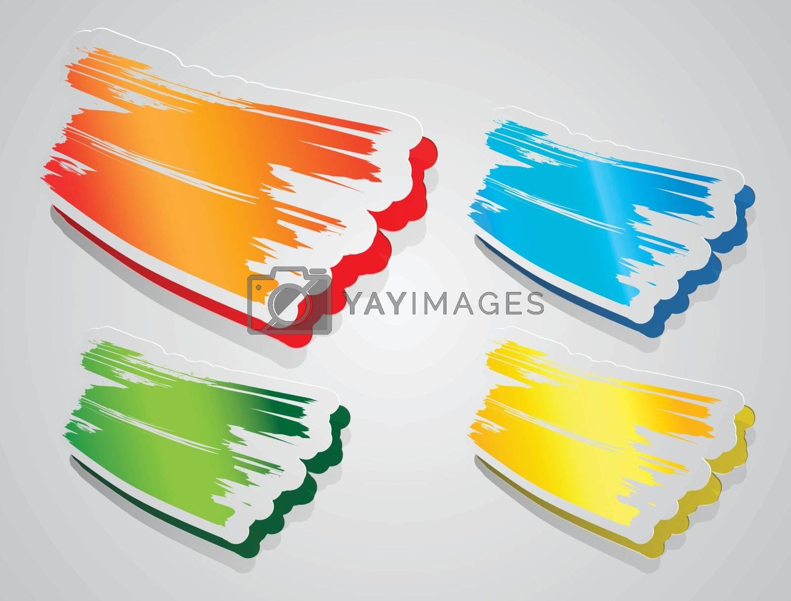 Colorful sticker paper brush stroke