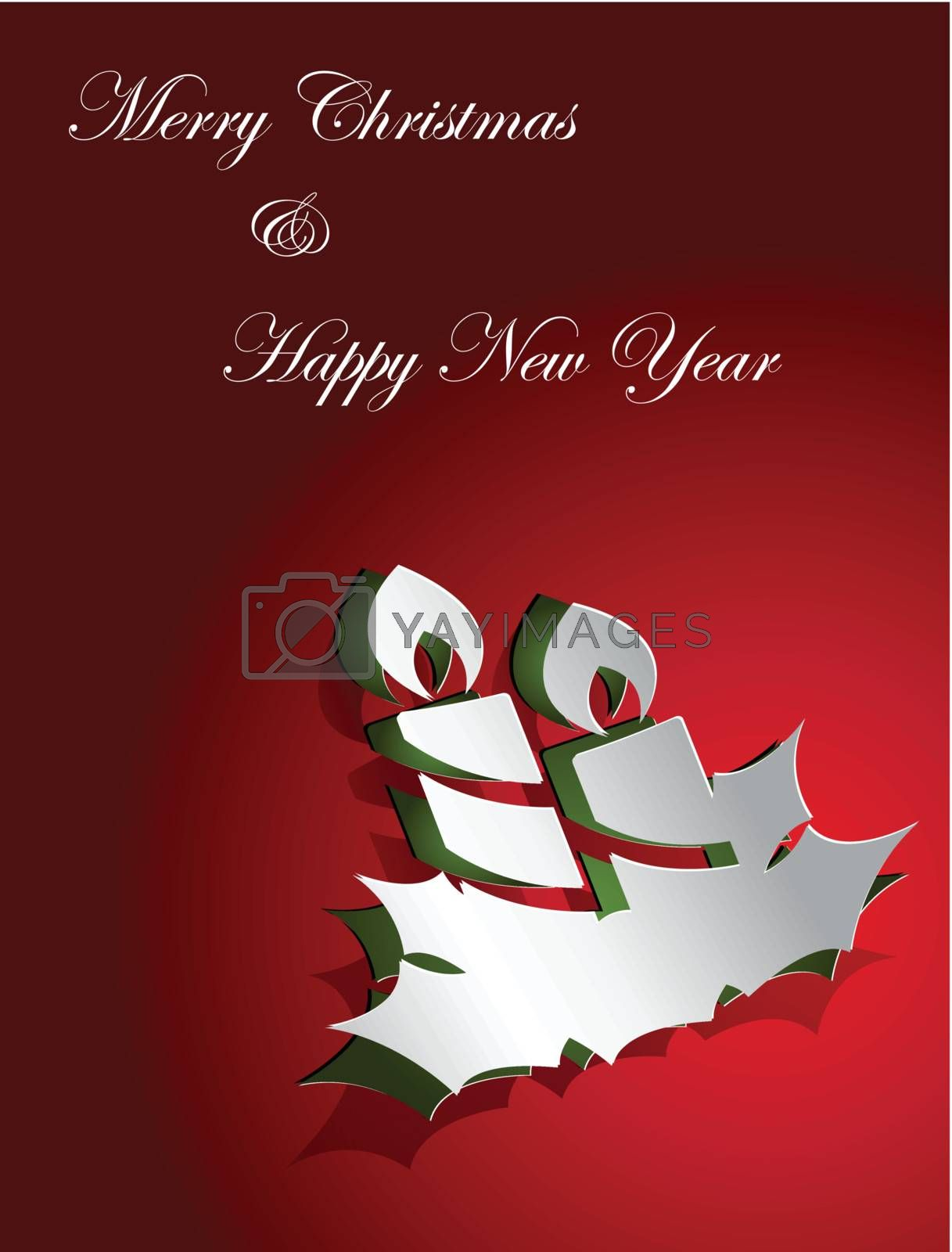 Christmas card design candle sticker paper cut