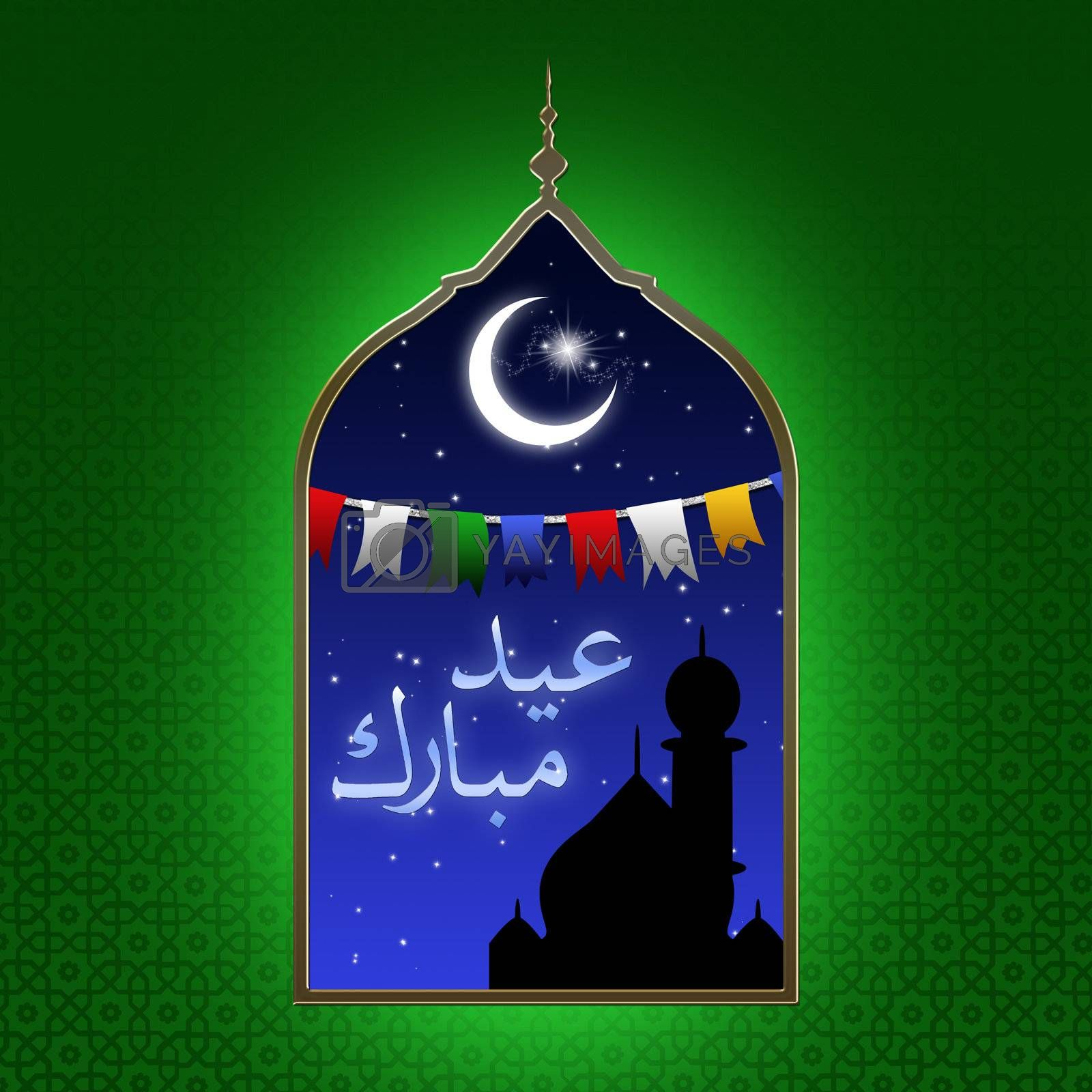 Eid illustration with a festive night scene: a colorful garland, the moon and stars and a silhouette of a mosque displayed in an arabic window on a green patterned background.
