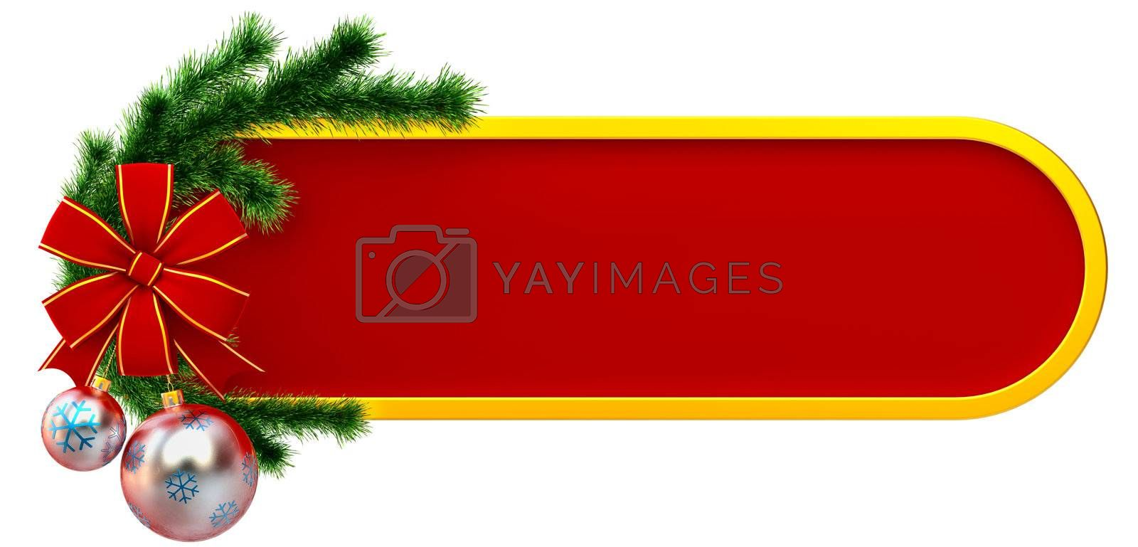christmas frame decorated of green fir branch and two christmas balls with one red bow