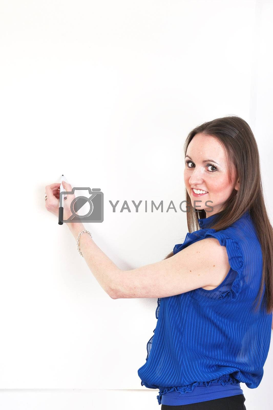 Girl ready to take notes on white board