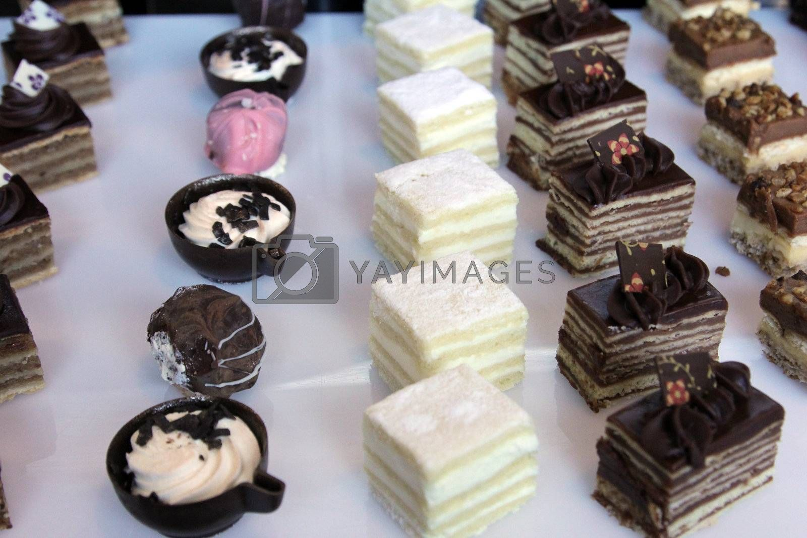 Colorful desserts and pastry served on a wedding party