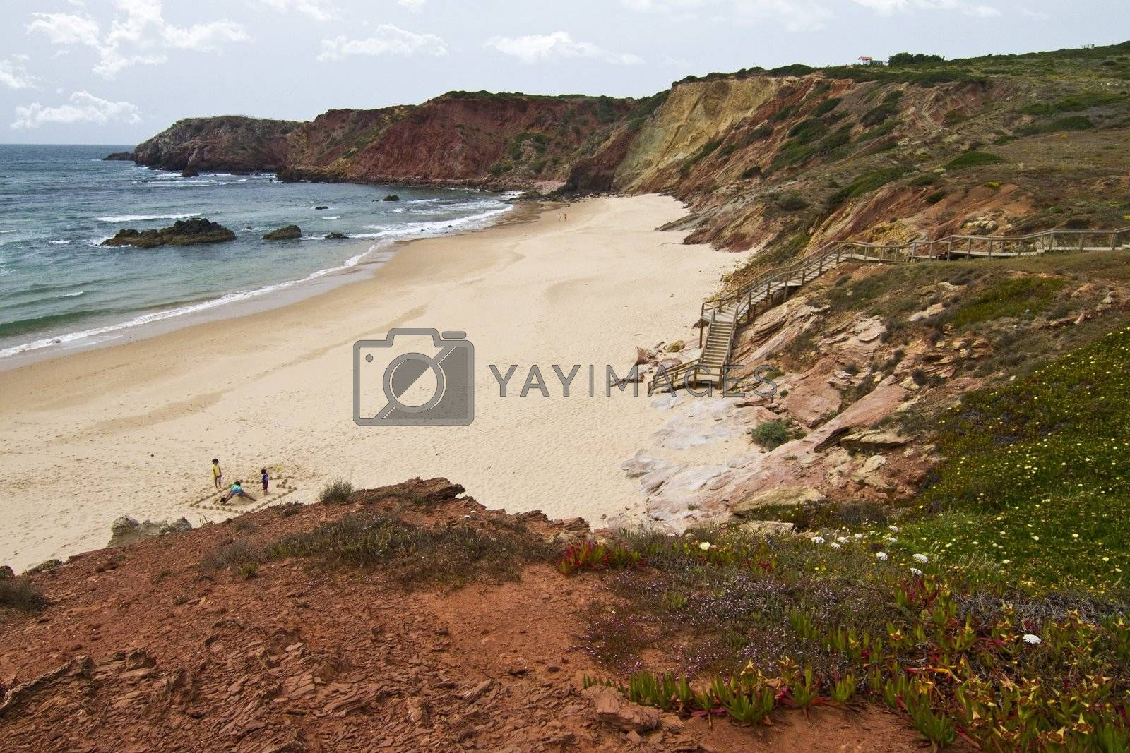 Beautiful view of the isolated beaches and coastline of Sagres, located in the Algarve, Portugal.