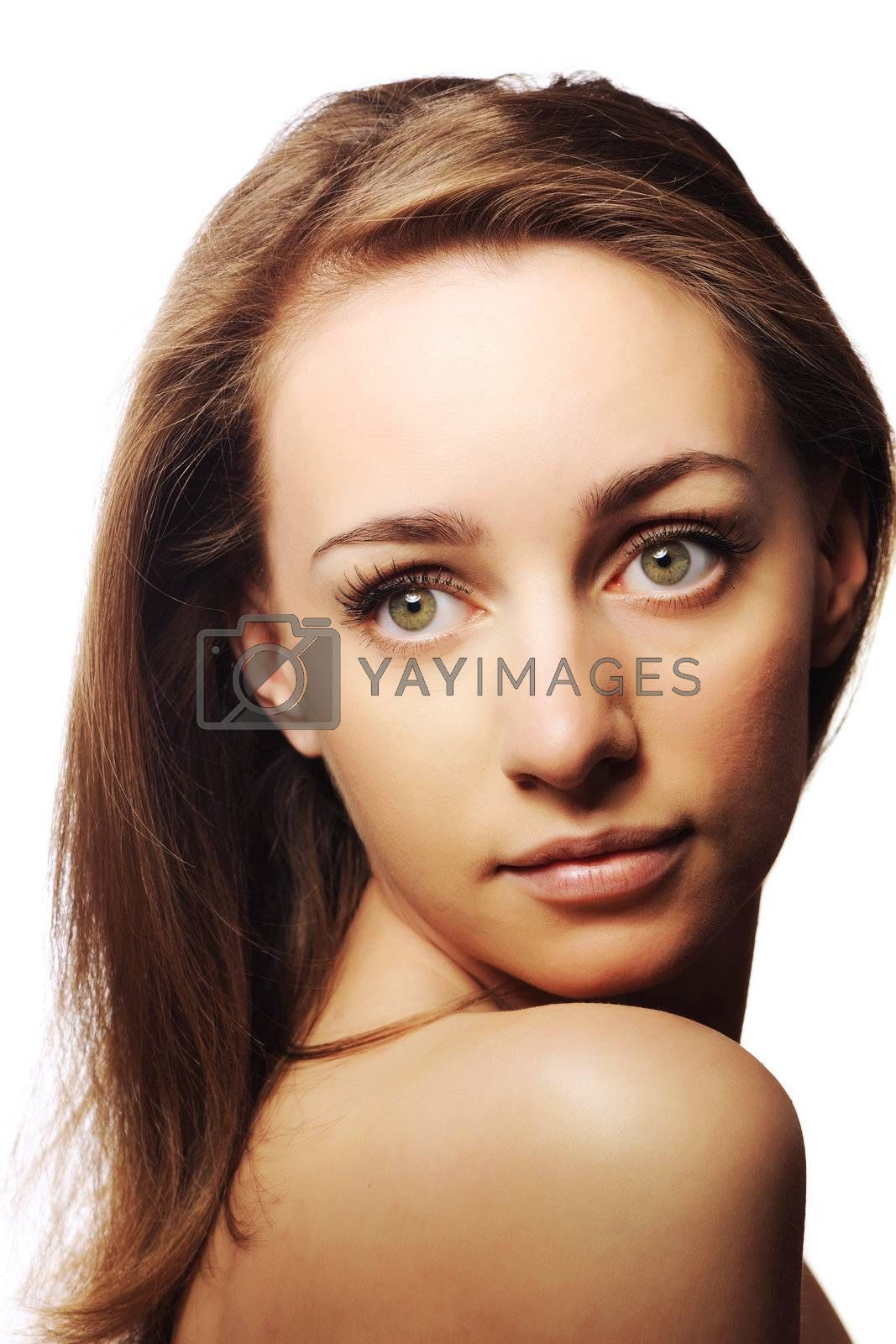 Beautiful young woman over white background