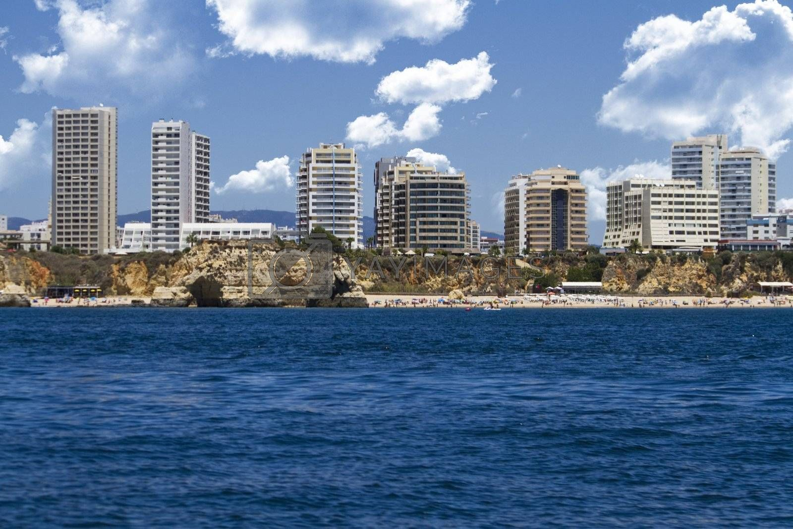 Wonderful view of the beautiful coastline with buildings of the Algarve, Portugal.