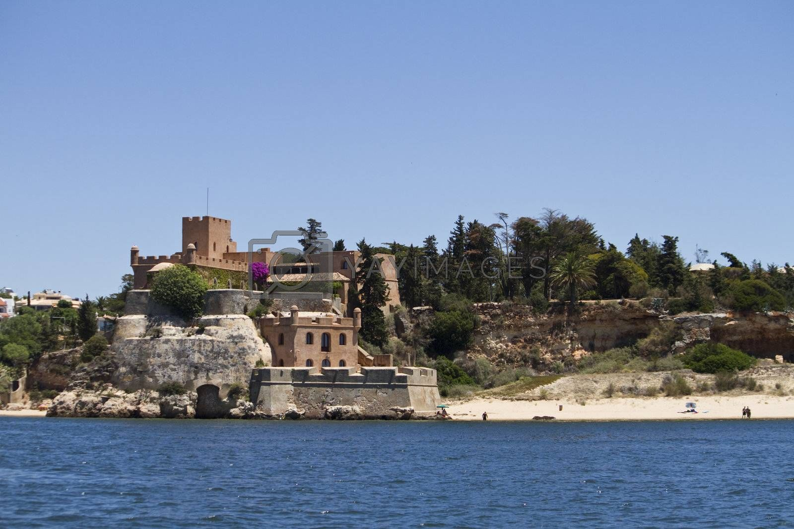 View of the beautiful castle in the Ferragudo city on the Algarve, Portugal.