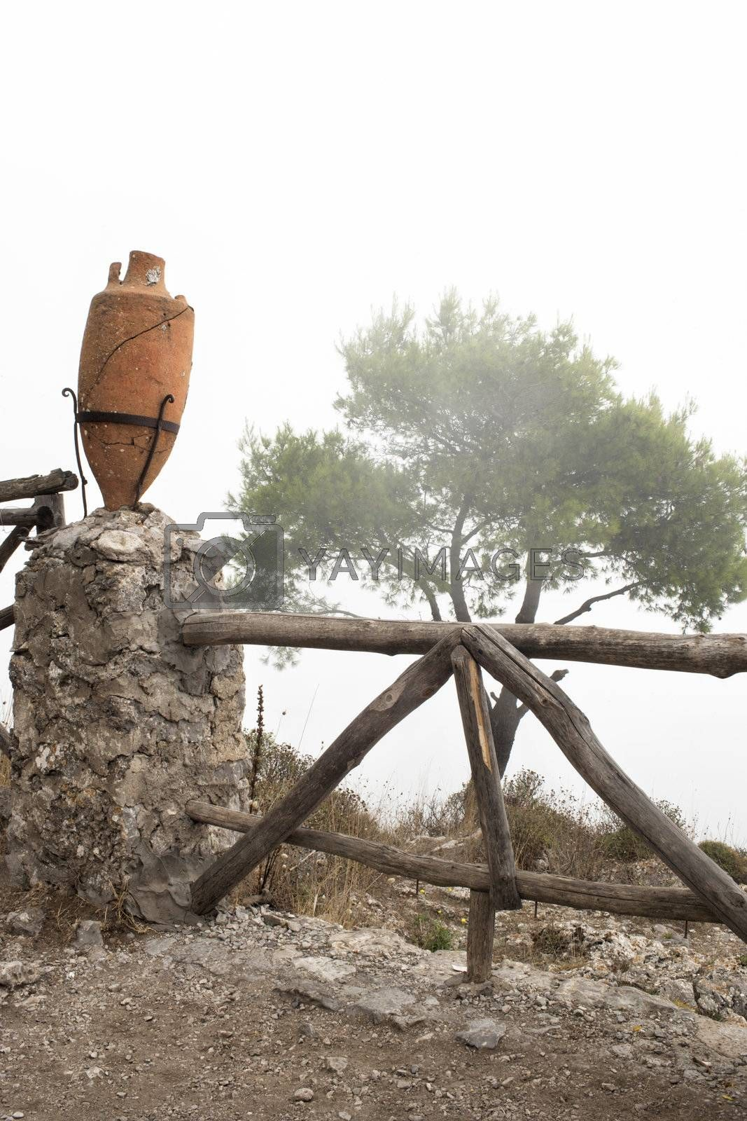 old wooden fence in the hills of capri italy