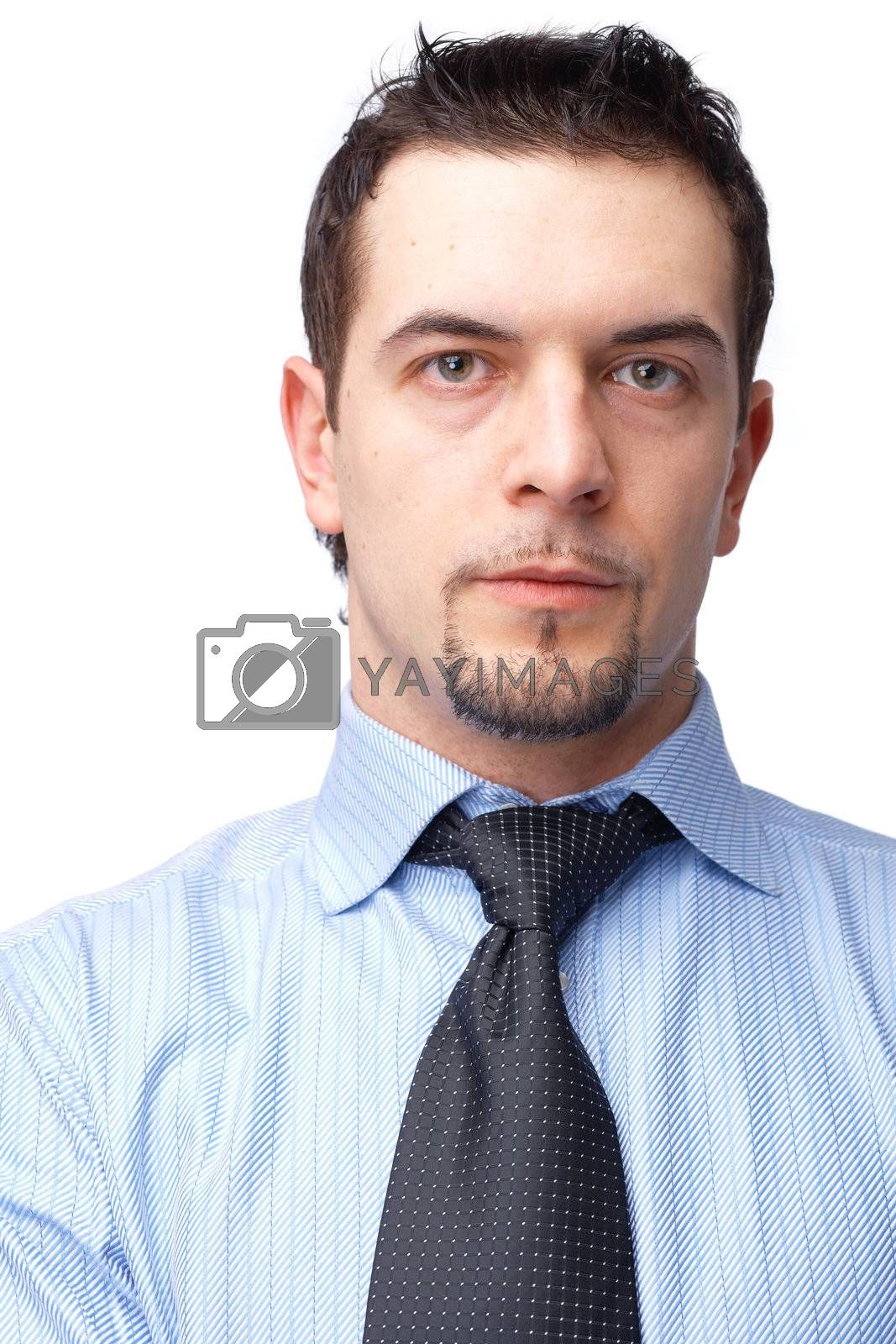 Close-up portrait of a businessman isolated over white background.