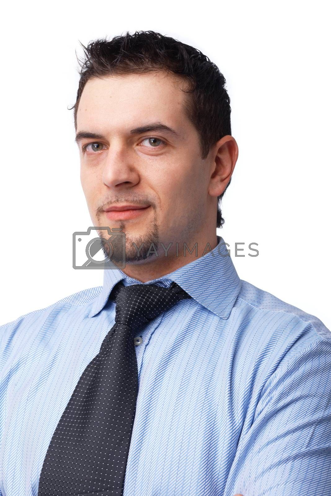 Close-up portrait of a successful businessman isolated over white background.