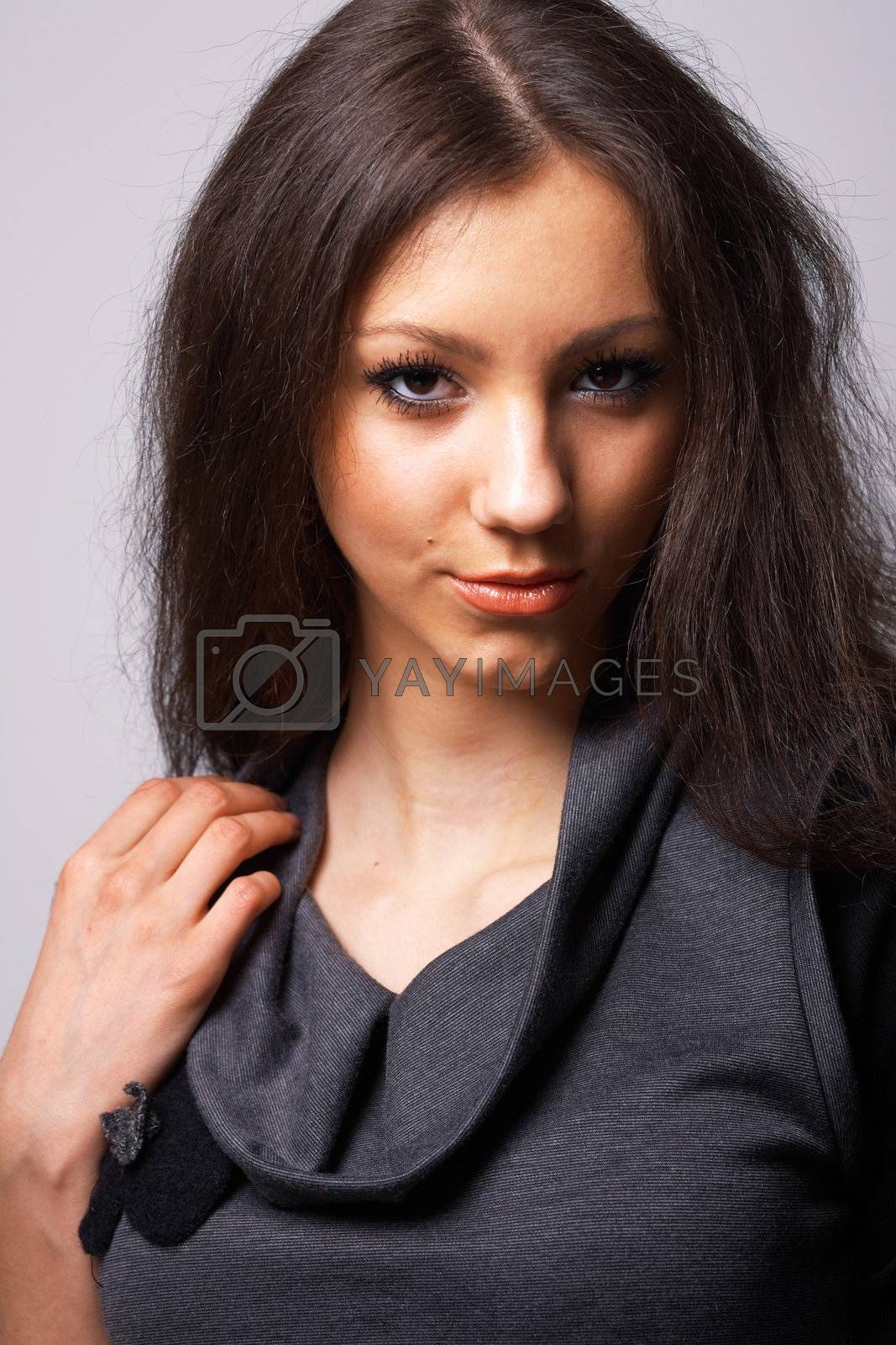 Close-up portrait of a beautiful young model