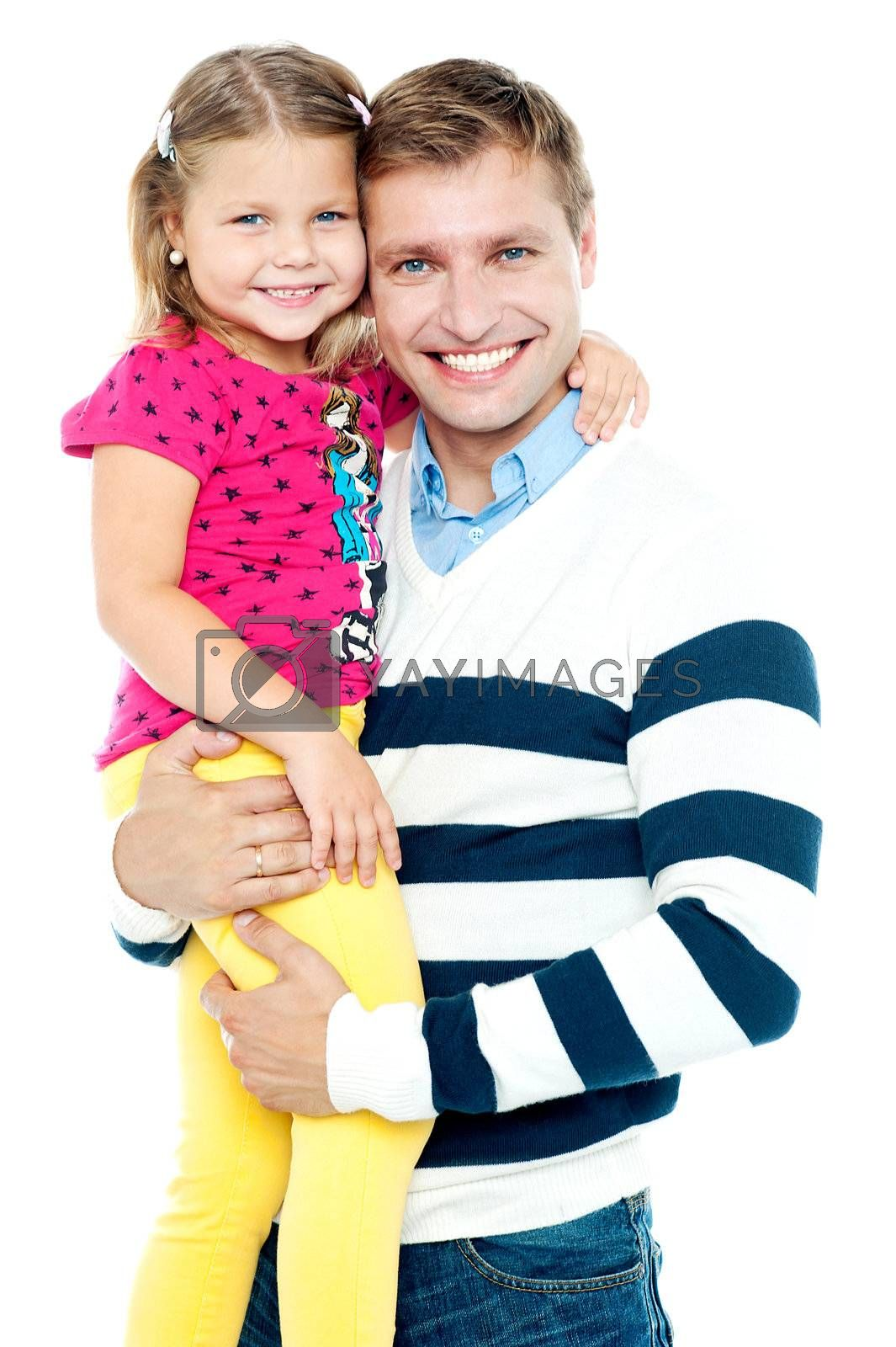 Father and daughter. Studio shot. Smiling