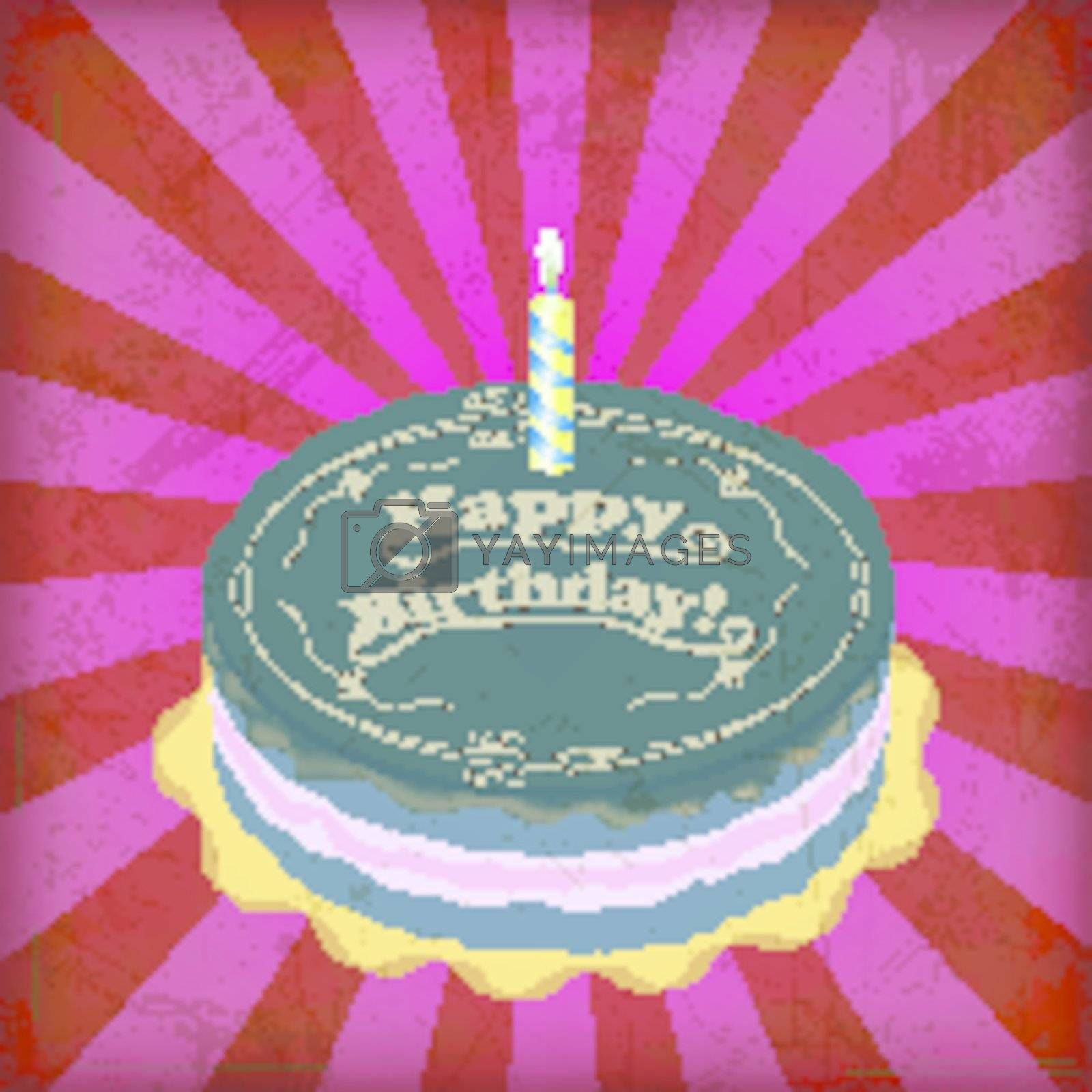 vintage birthday cake with Grunge Effect