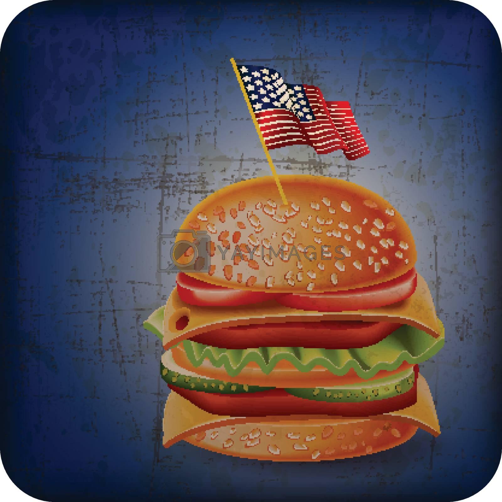 vintage USA hamburger with Grunge Effect