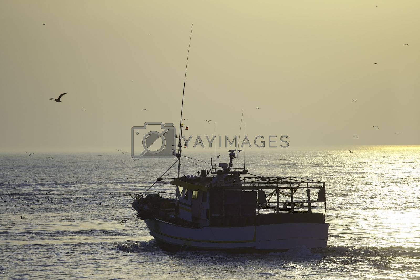 Fishing boat on the sunset departerd for a new day