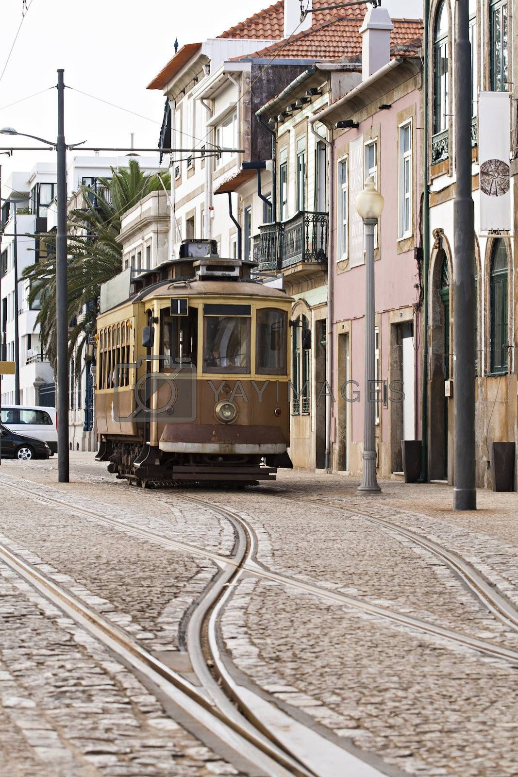 Tram in the city of Porto, the city from the Porto Wine