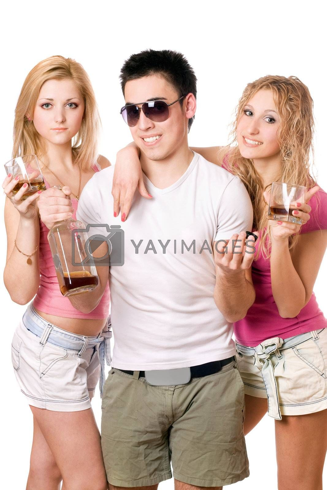 Two attractive blonde woman and young man with a bottle