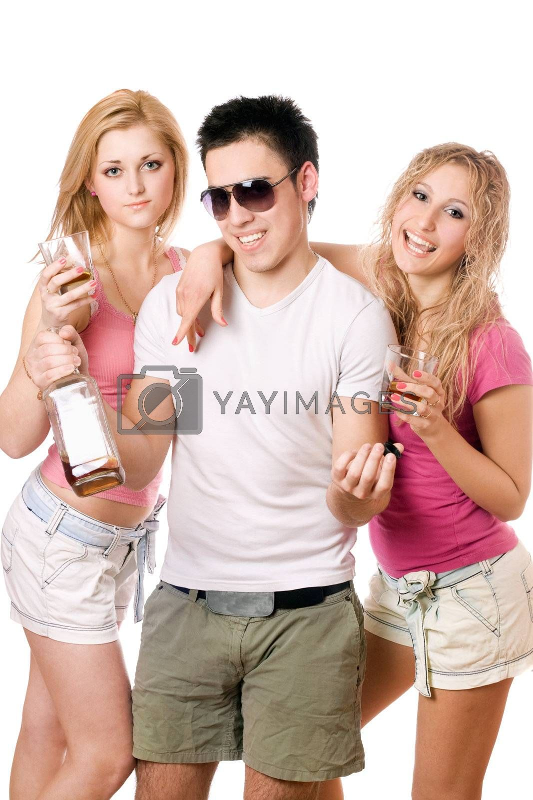 Two pretty blonde woman and young man with a bottle