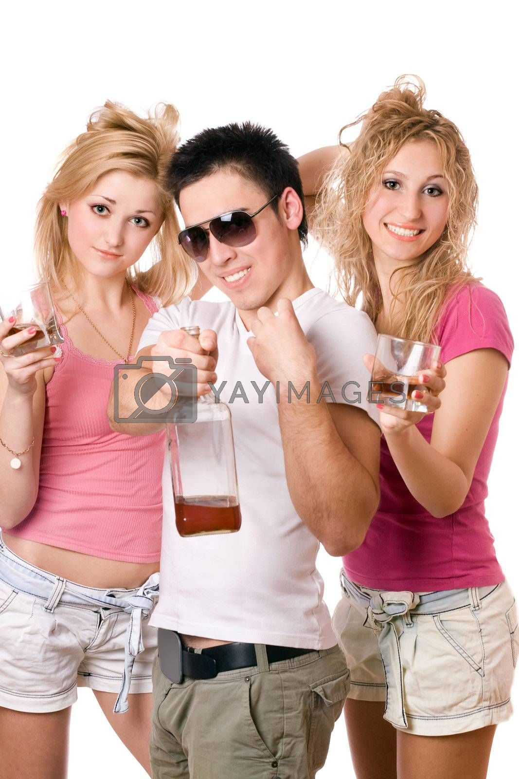 Cheerful young people with a bottle of whiskey